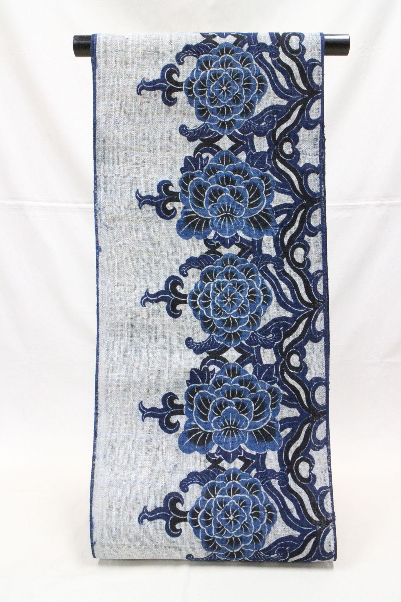 藍型 牡丹大花   大麻布(モン族)