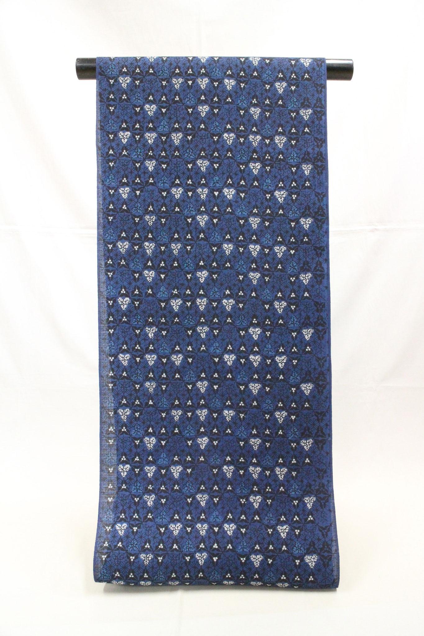 藍型 花繋ぎ  桐生紬