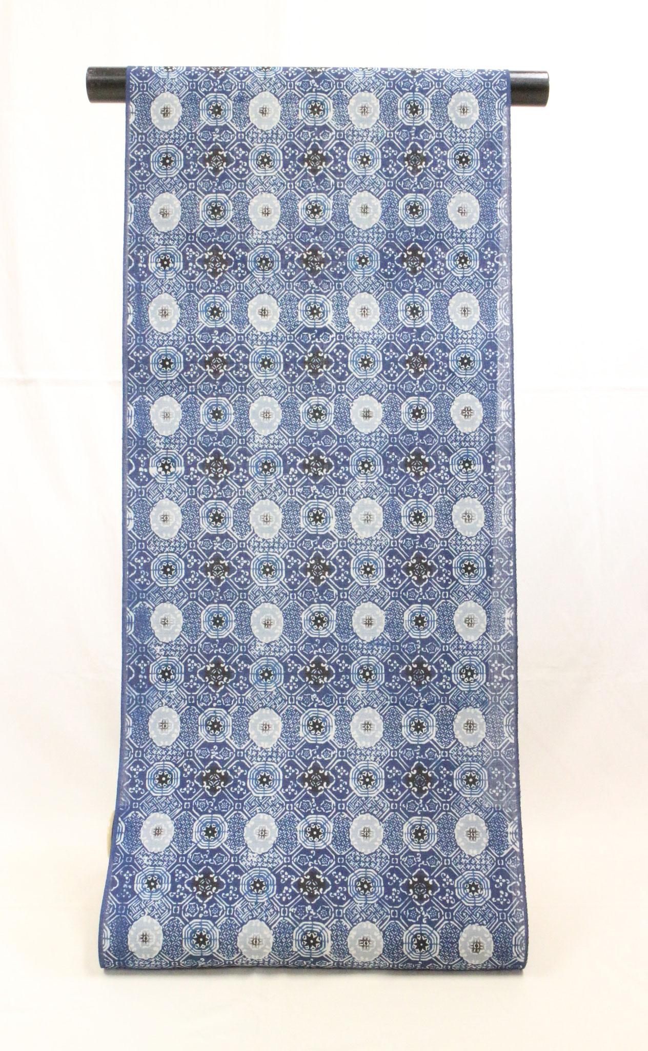 藍型古典柄 蜀江模様 小千谷麻