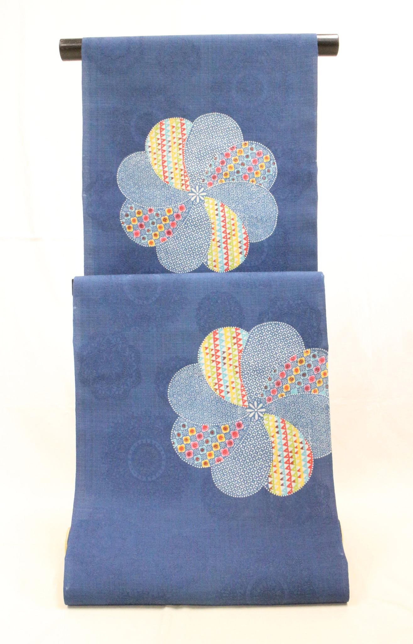 紅入り藍型 琉球漆器模様  桐生紬