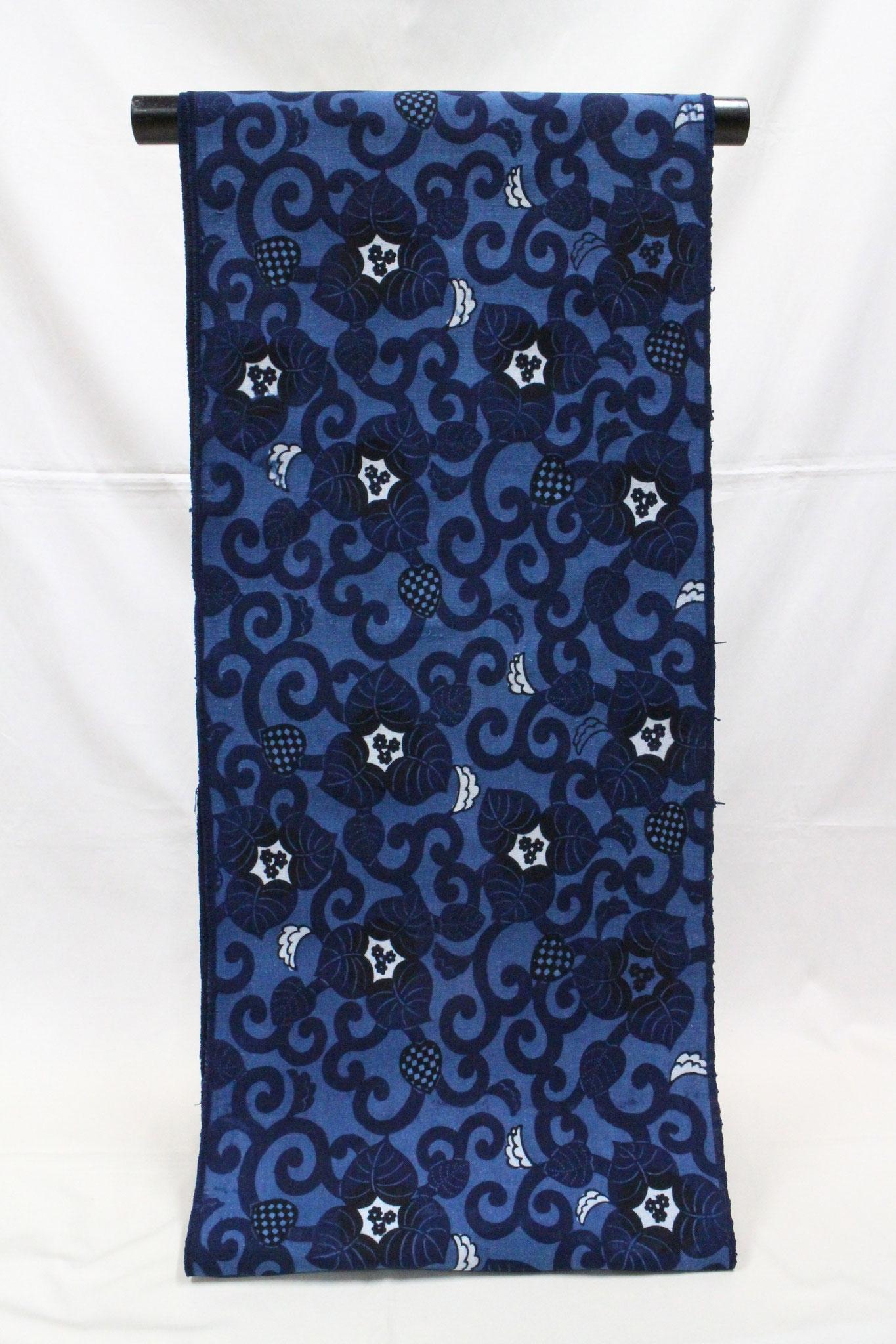藍型 ブーゲン唐草    岡崎木綿
