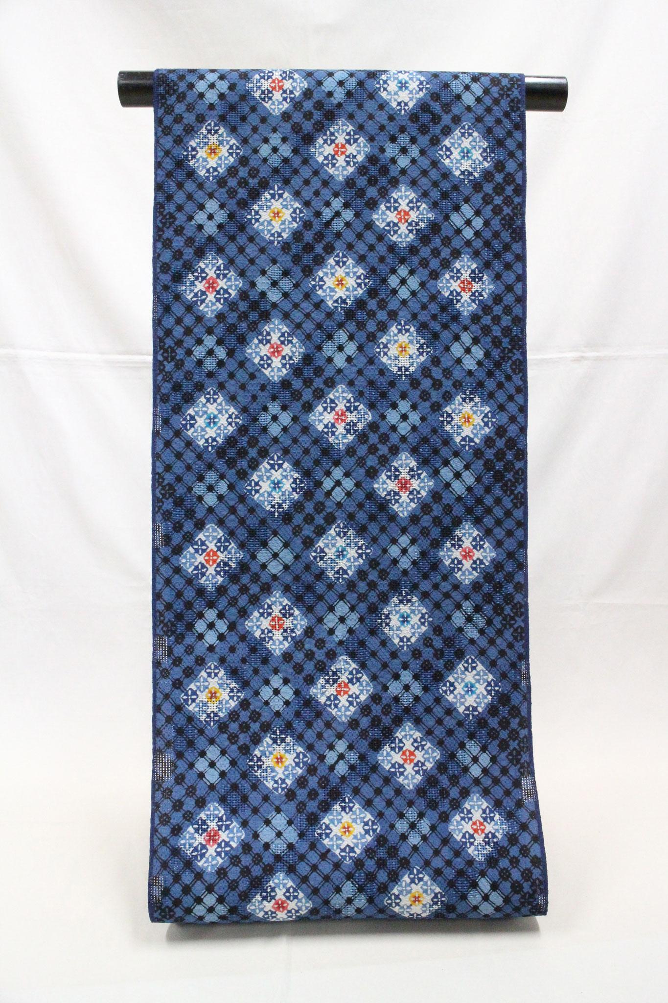 紅入り藍型 変り菱繋ぎ  桐生紬