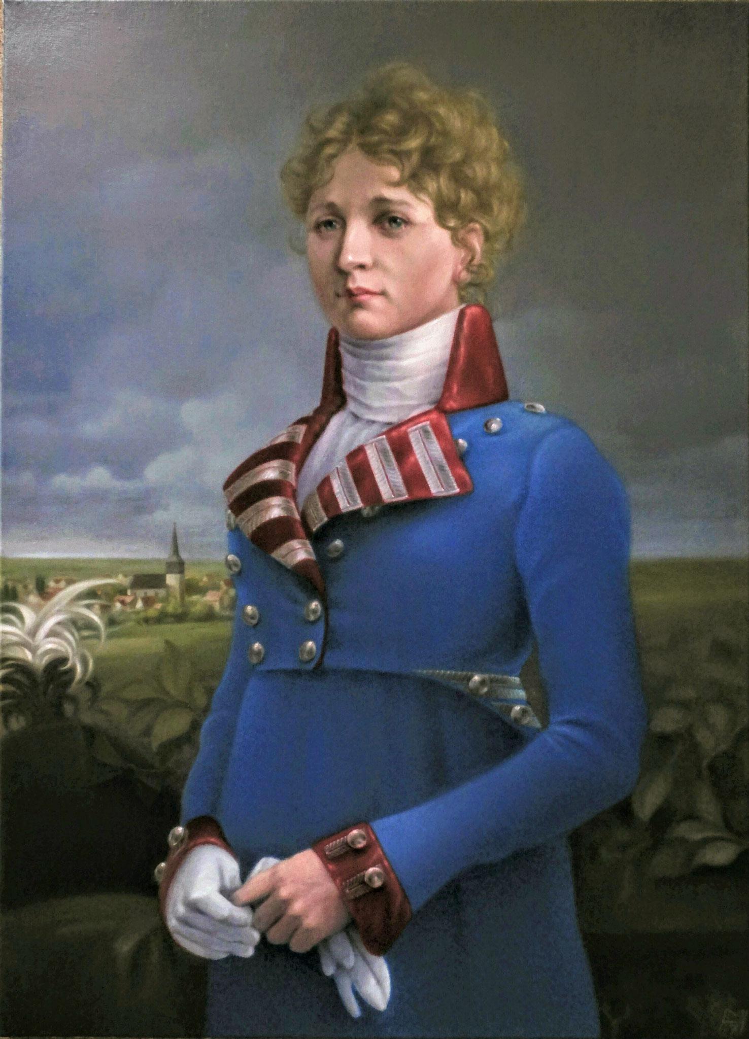 Königin Luise als Oberbefehlshaberin des Dragonerregiments No. 5, Öl auf Leinwand, 65 x 90 cm