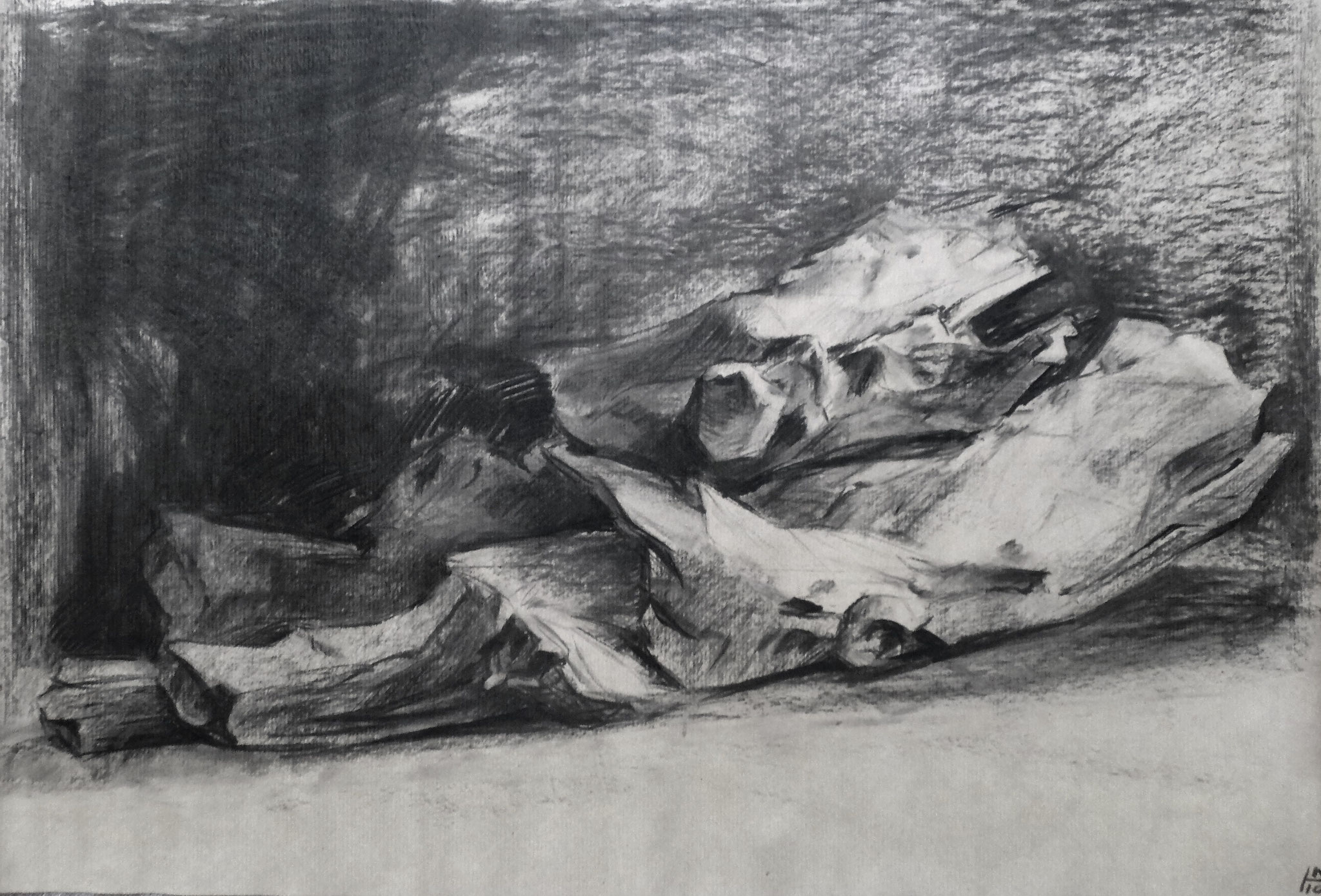 Holzstudie, Kohle auf Papier