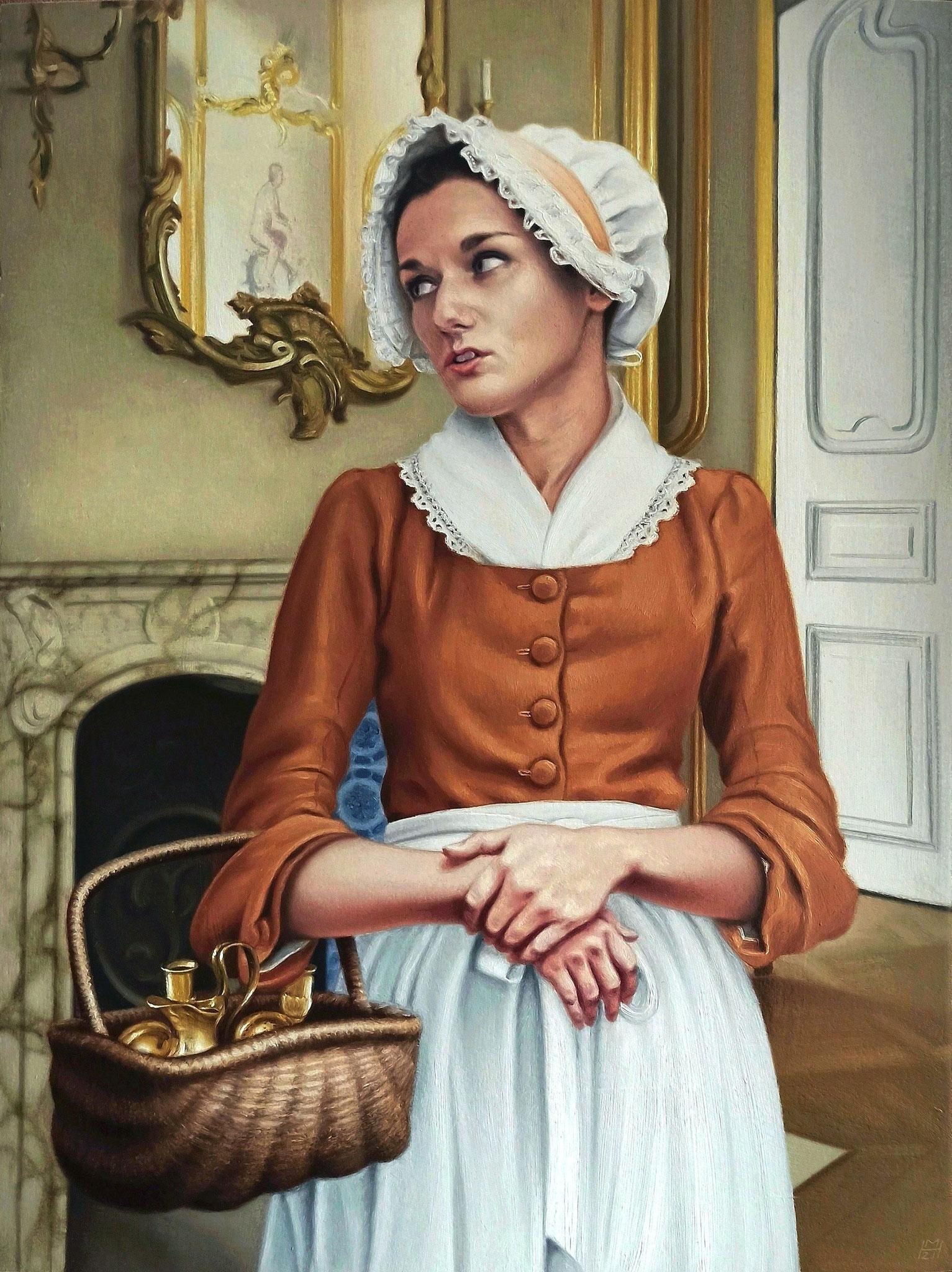 ''Kammerzofe Sophie'', Öl auf Holz, 36 x 47,5 cm