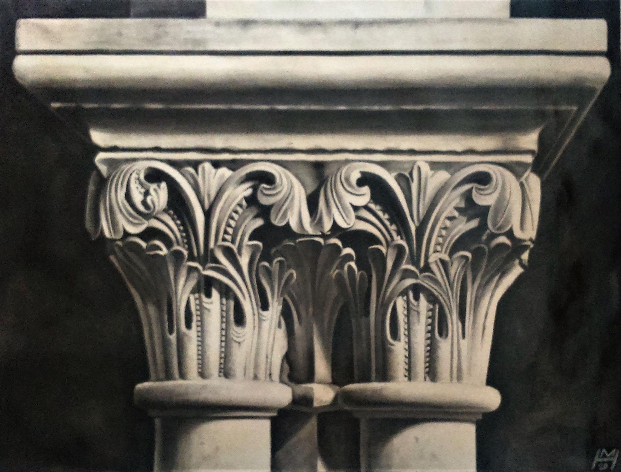 Korinthisches Kapitell, Akryl auf Leinwand, 160 x 100 cm
