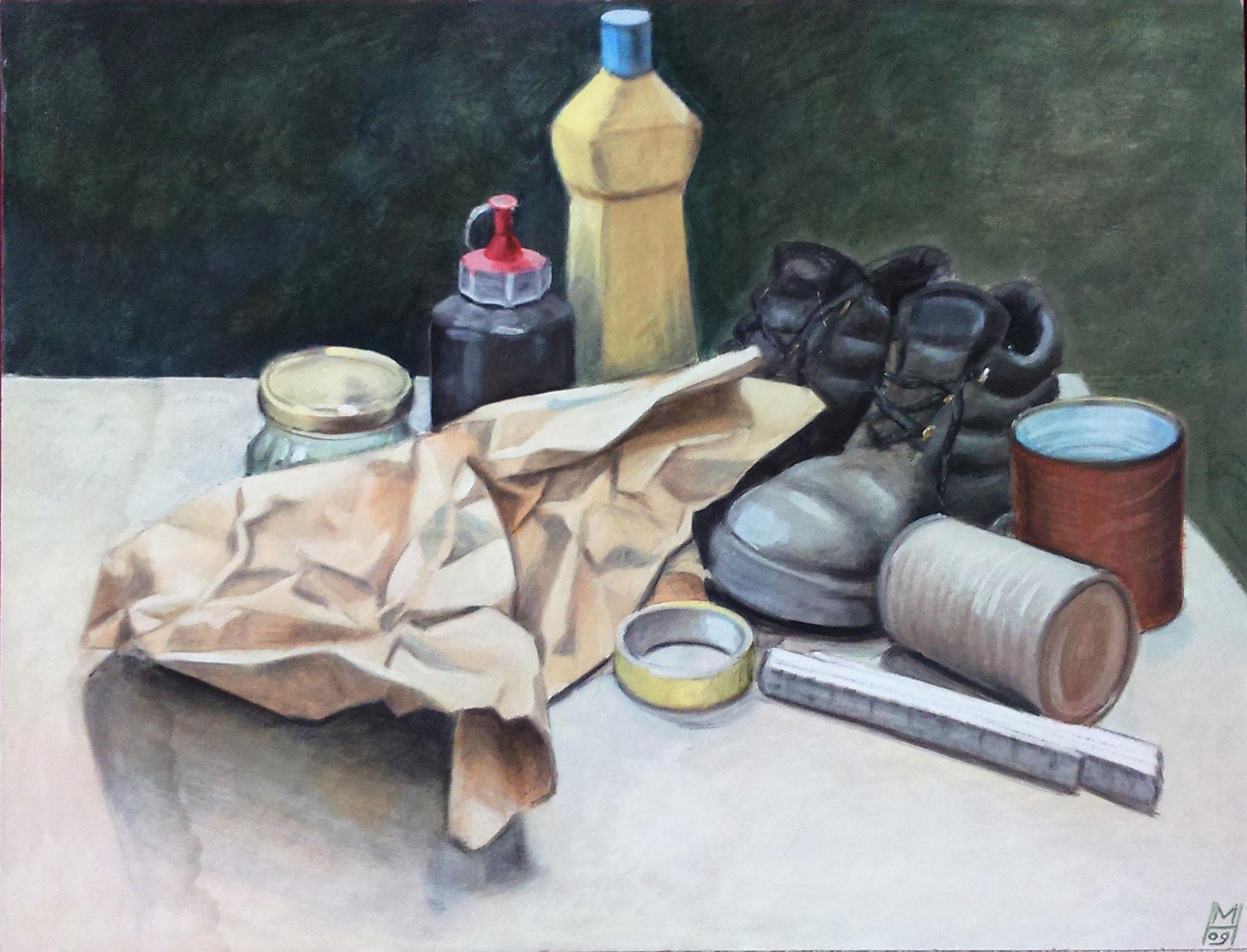 Stillleben, Akryl auf Holz, 91,5 x 70 cm
