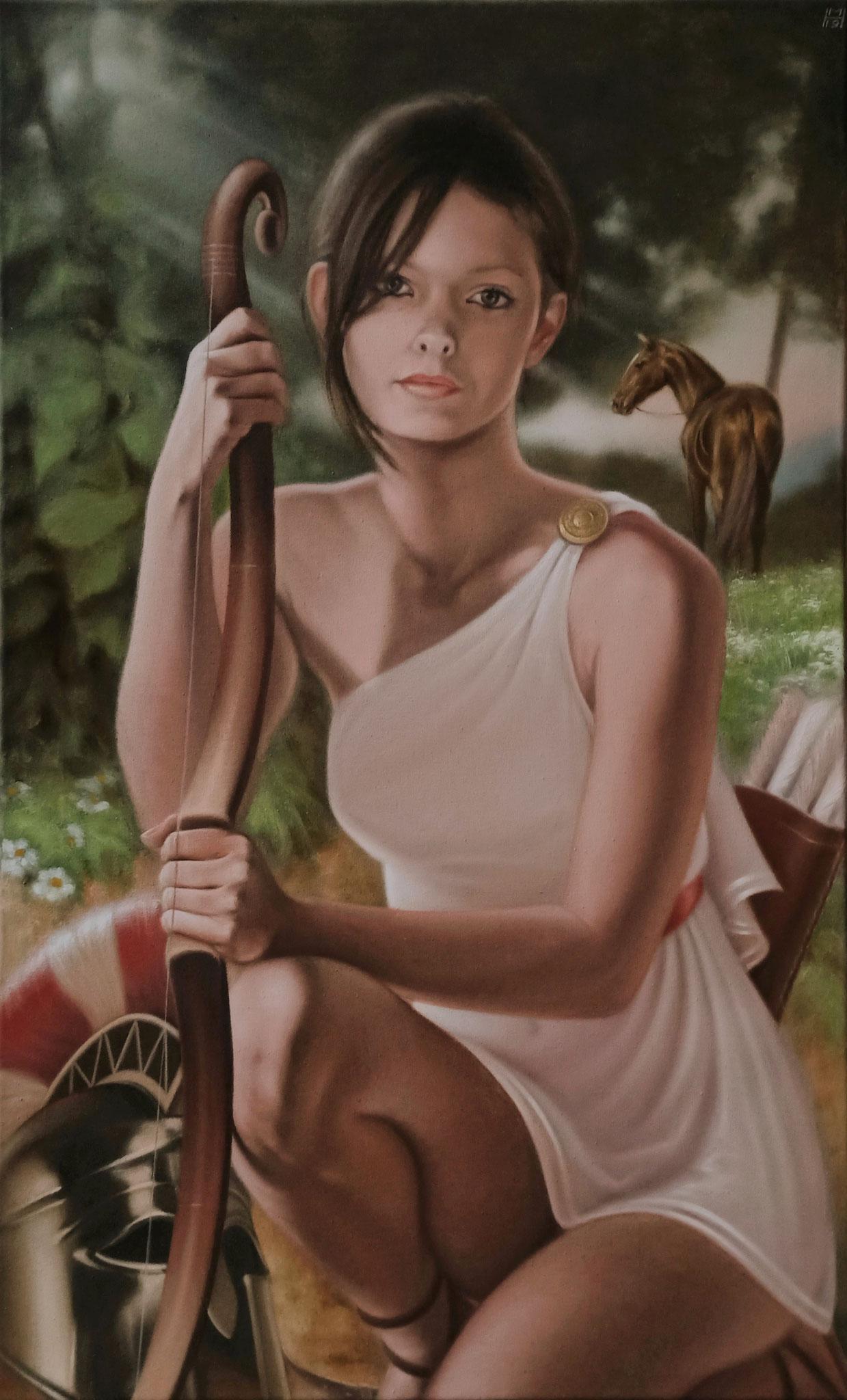 Amazone, Öl auf Leinwand, 54 x 88 cm