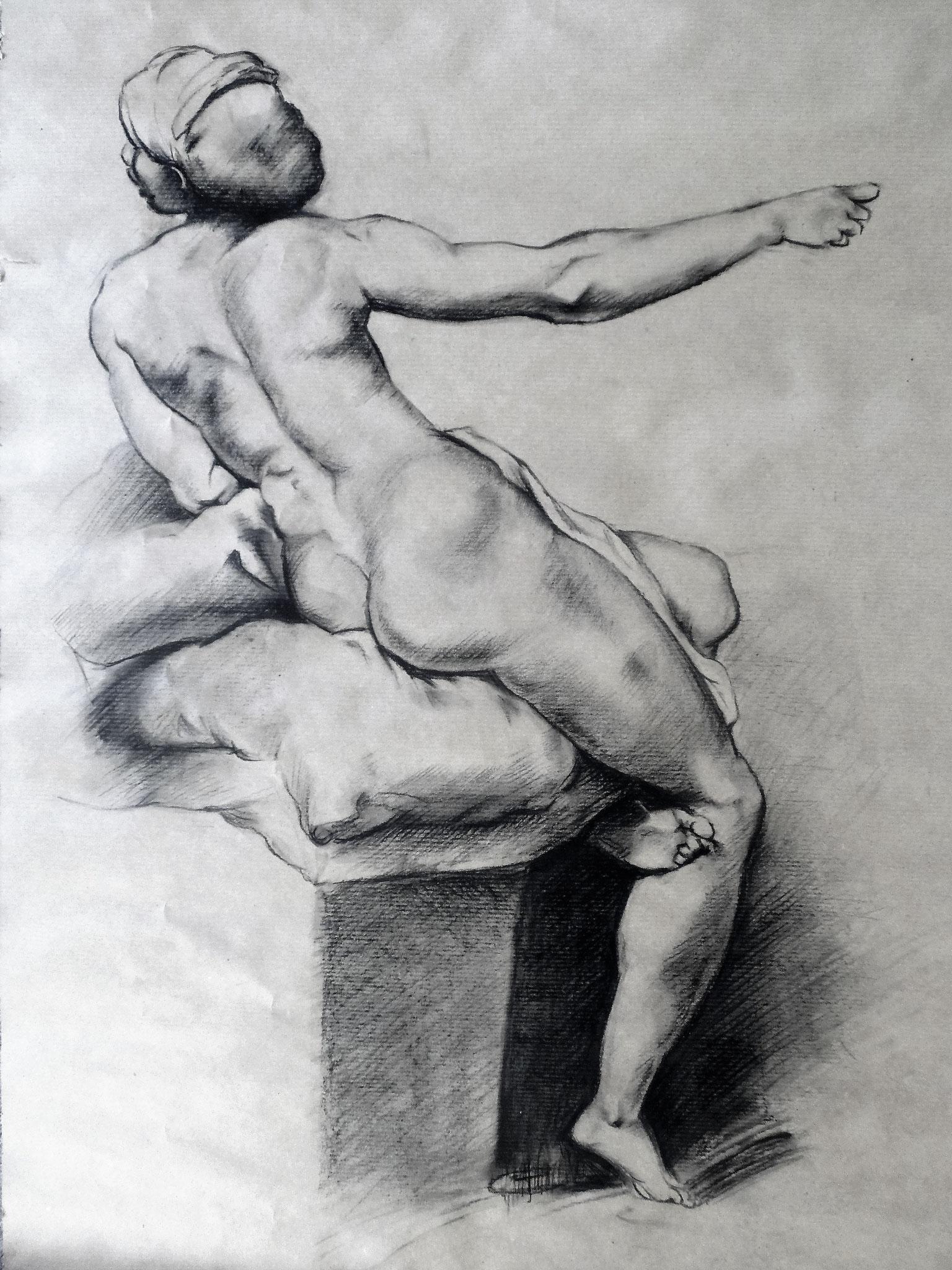 Weiblicher Akt nach Raffaelo Santi, Kohle auf Papier