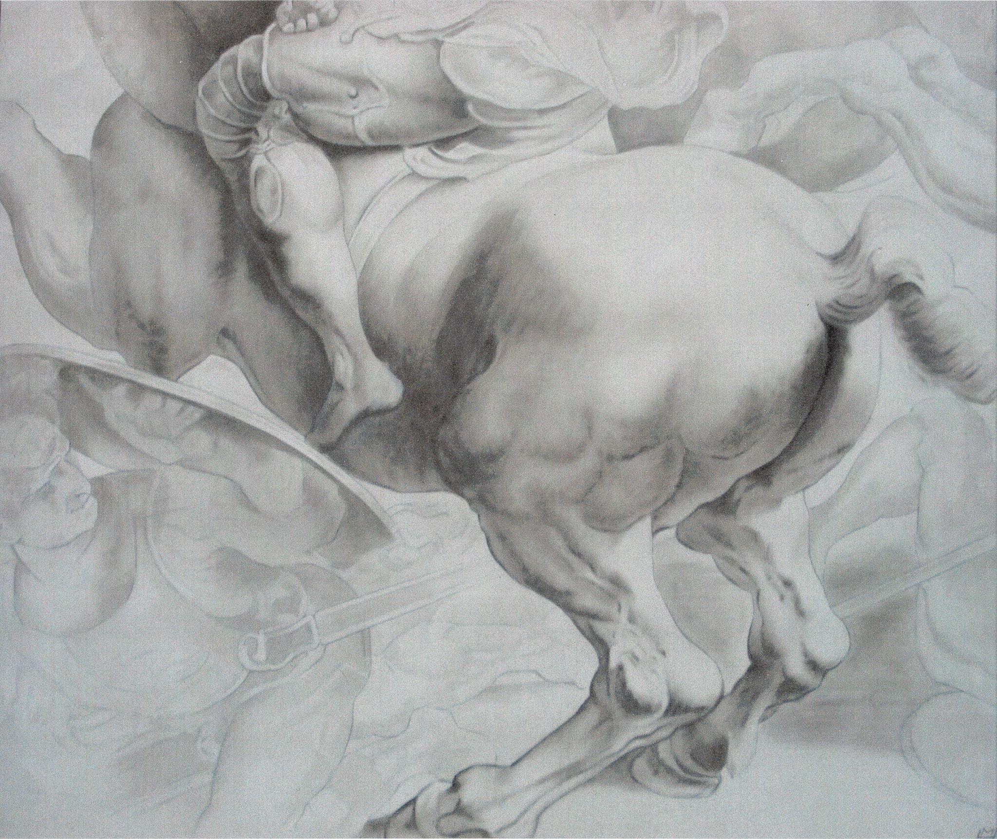 'Anghiarischlacht' (Detail) nach P. P. Rubens, Akryl auf Leinwand, 140 x 120 cm