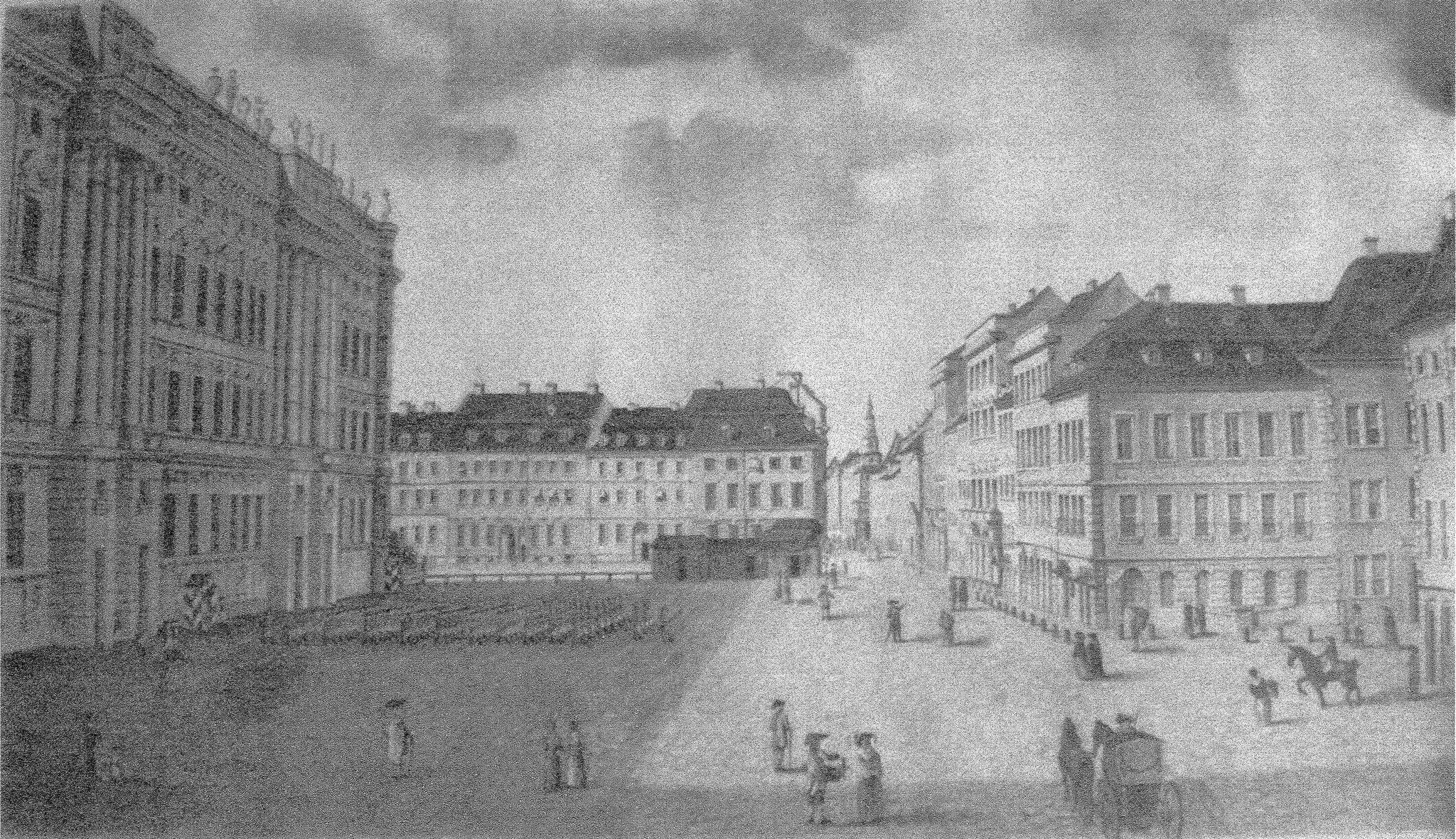 Schloßplatz zu Berlin, Graphit auf Papier, 65,5 x 37 cm