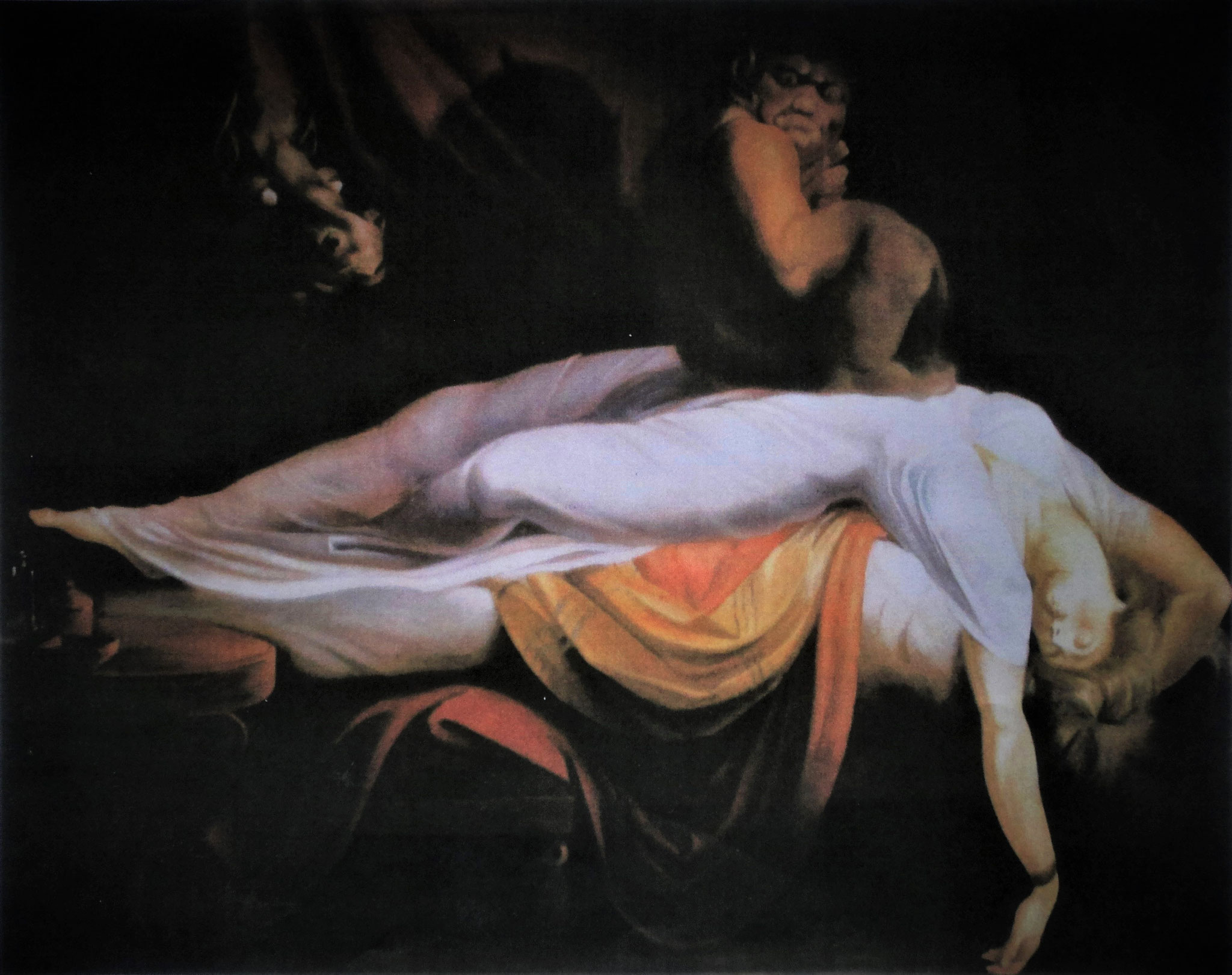 'Der Nachtmahr' nach J. H. Füssli, Akryl auf Leinwand, 284 x 400 cm