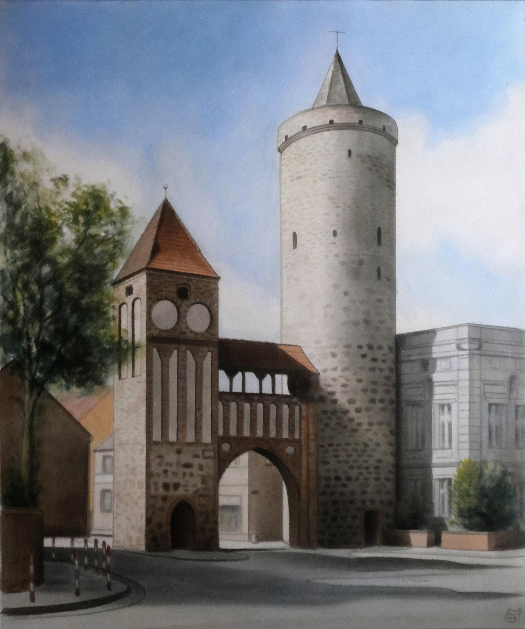 Zinnaer-Tor zu Jüterbog, Akryl auf Leinwand, 104 x 125 cm