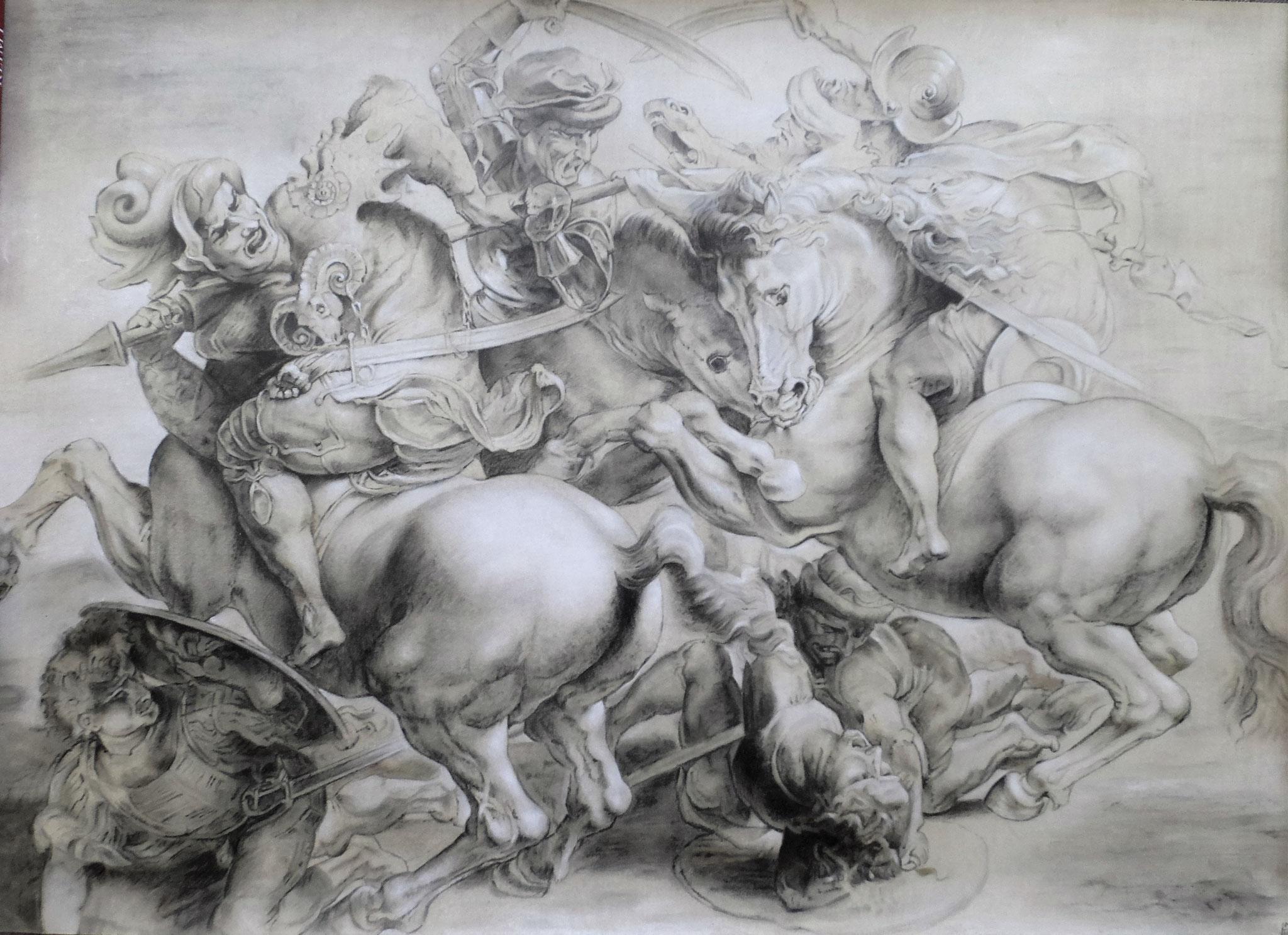 'Anghiarischlacht' nach P.P.Rubens, Graphit und Pastellkreide auf Papier, 112,8 x 80,8 cm