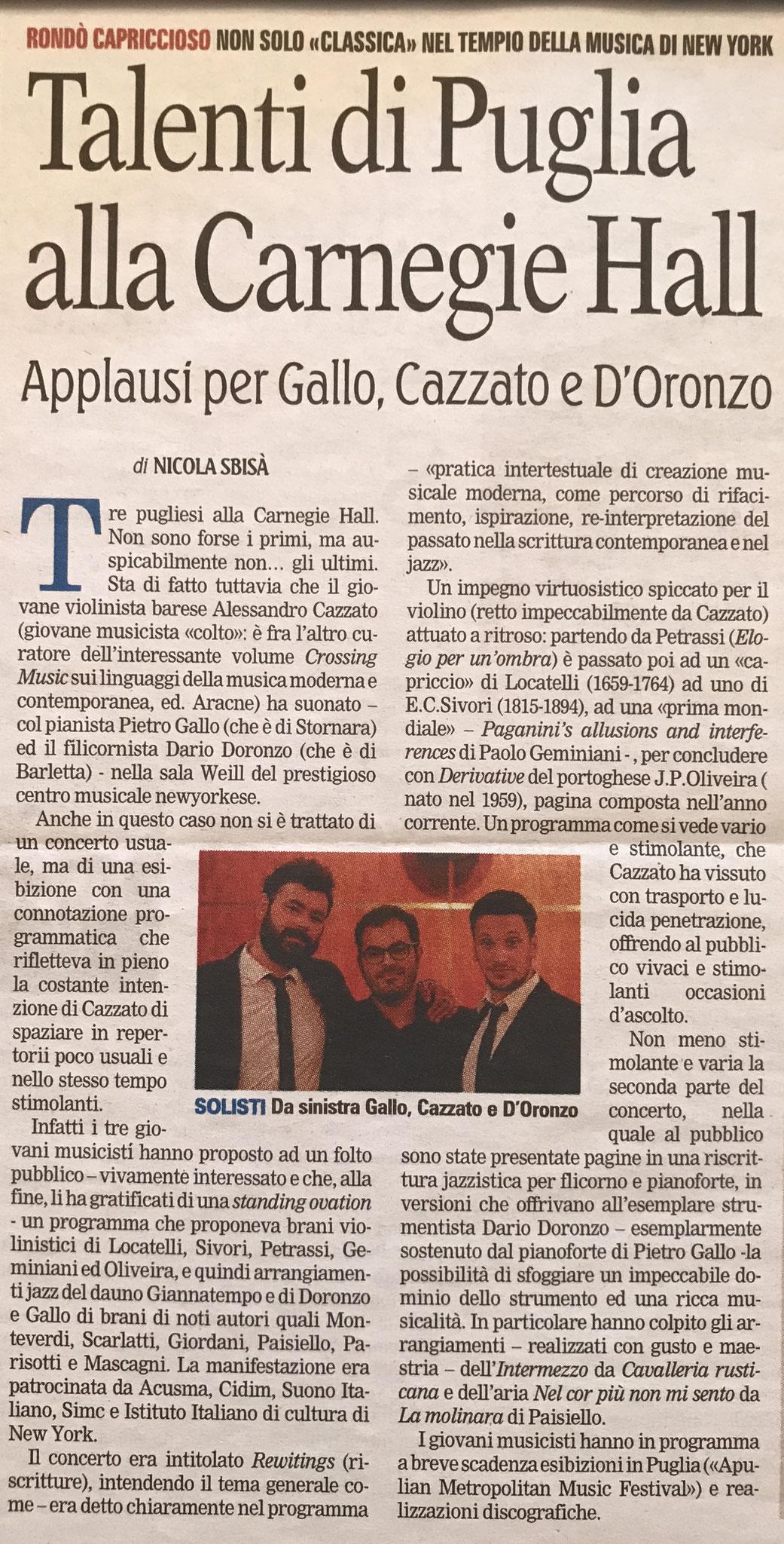 """""""La Gazzetta del Mezzogiorno"""" 2017"""
