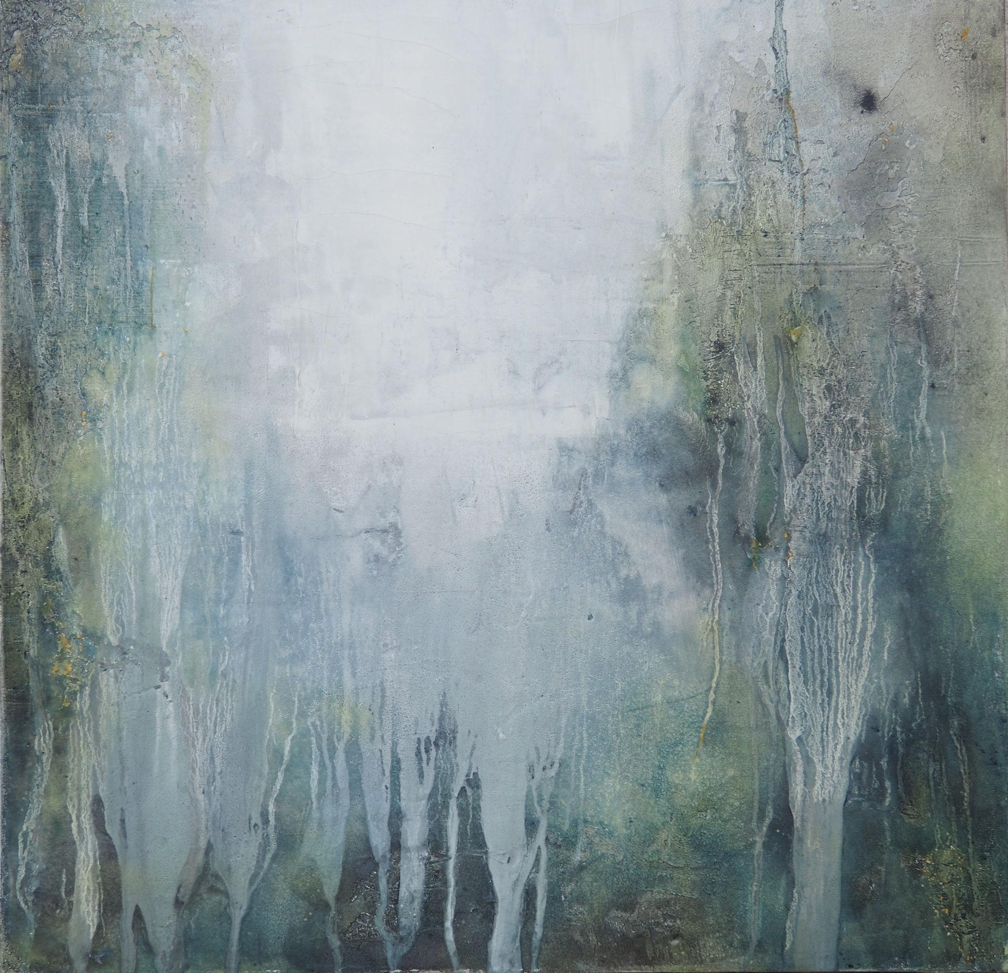 Regenwald - 100 x 100 cm, Sumpfkalk-Mamormehl-Struktur auf Leinwand