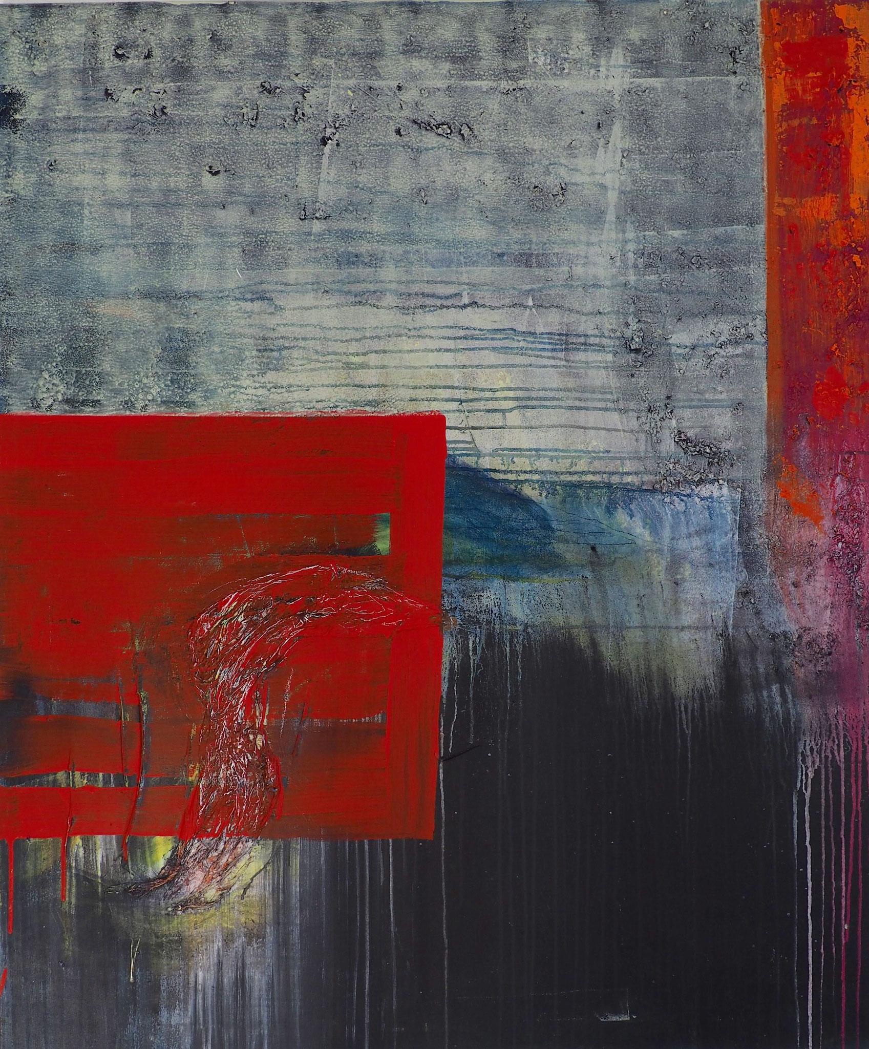rotes Viereck - 100 x 120 cm, Acryl-Mischtechnik