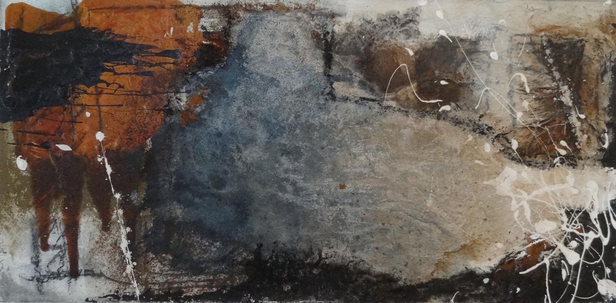 Blau-Grau - 80 x 40 cm, Acryl-Mischtechnik