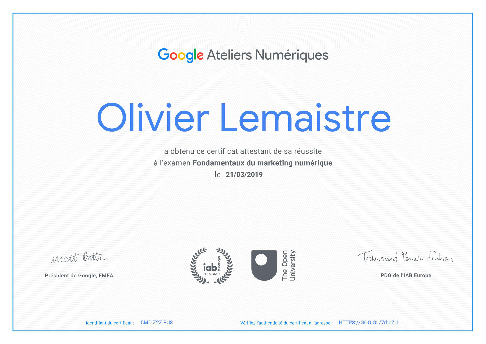 Certification Fondamentaux du marketing numérique Google