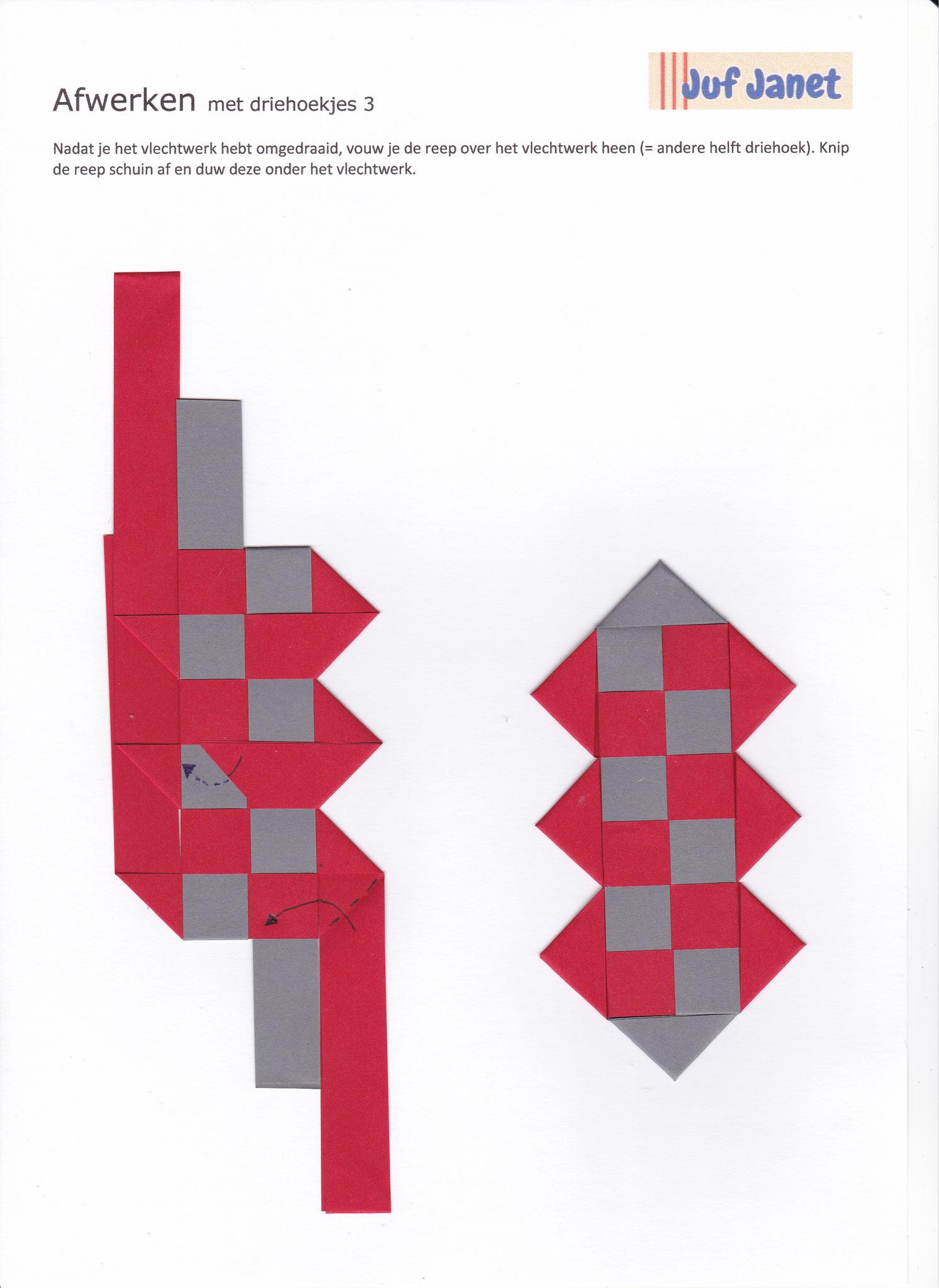 Stap 3: Nadat je het vlechtwerk hebt omgedraaid, vouw je de reep over het vlechtwerk heen (= andere helft driehoek). Knip de reep schuin af en steek deze onder het vlechtwerk.