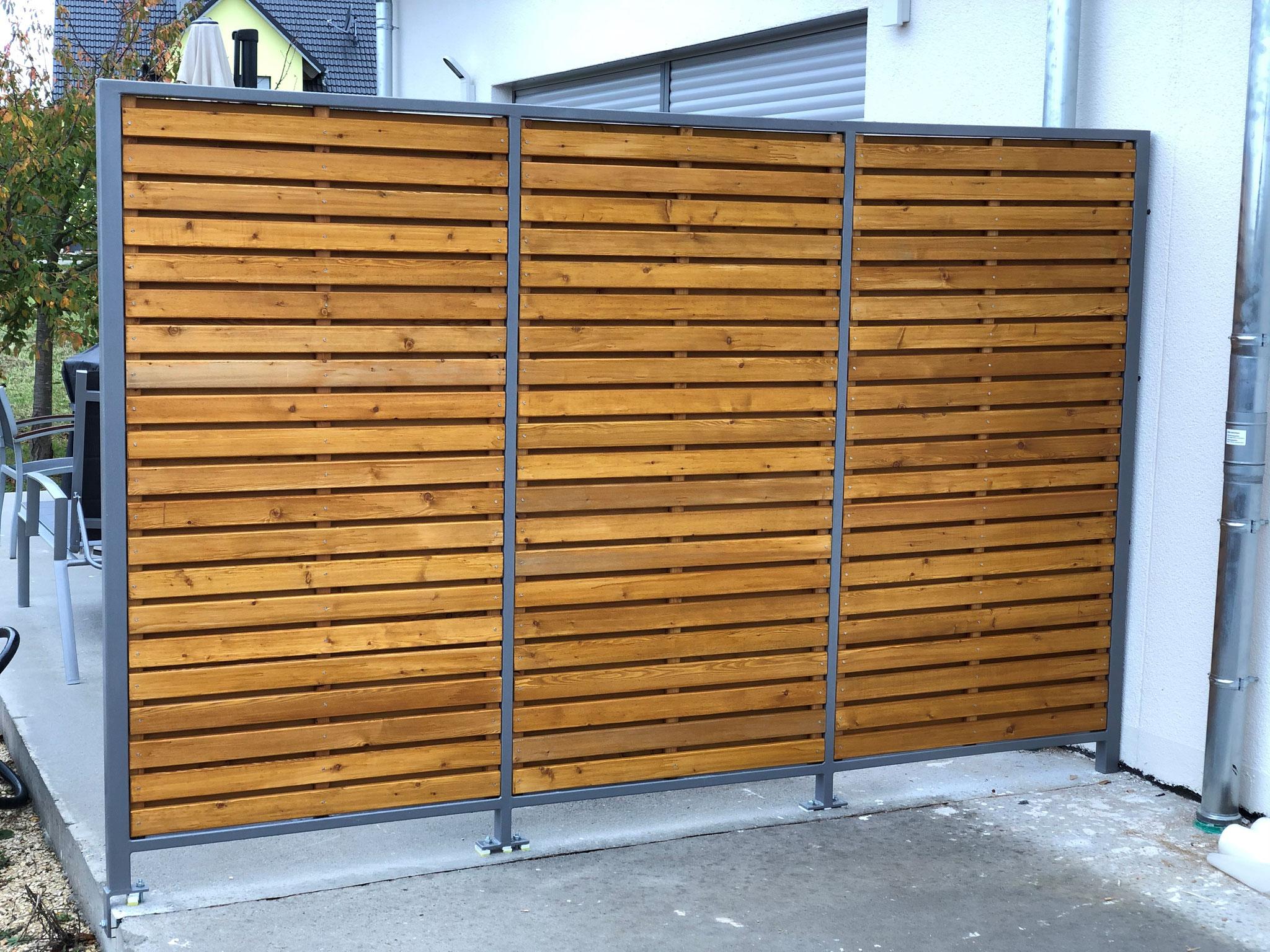 Sichtschutz mit Holz gepulvert