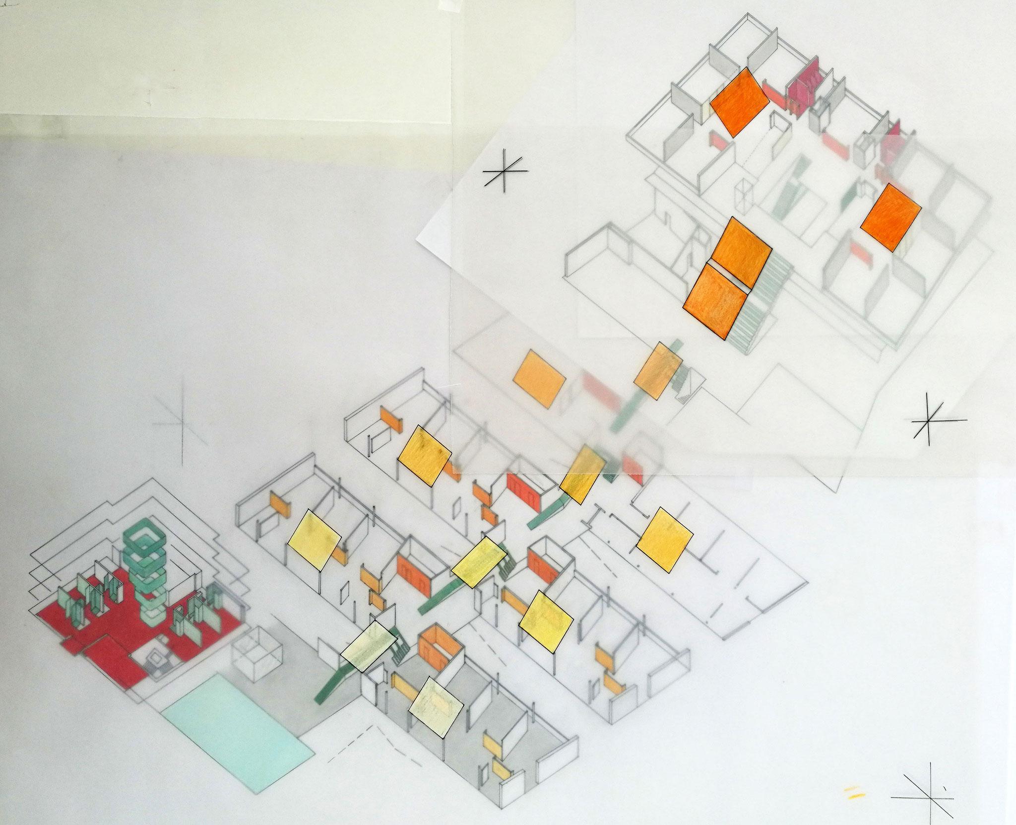Cluster und Ski- Trainingszentrum, Volksschule, Wand- und Bodenfarben; Entwurf, Axonometrie