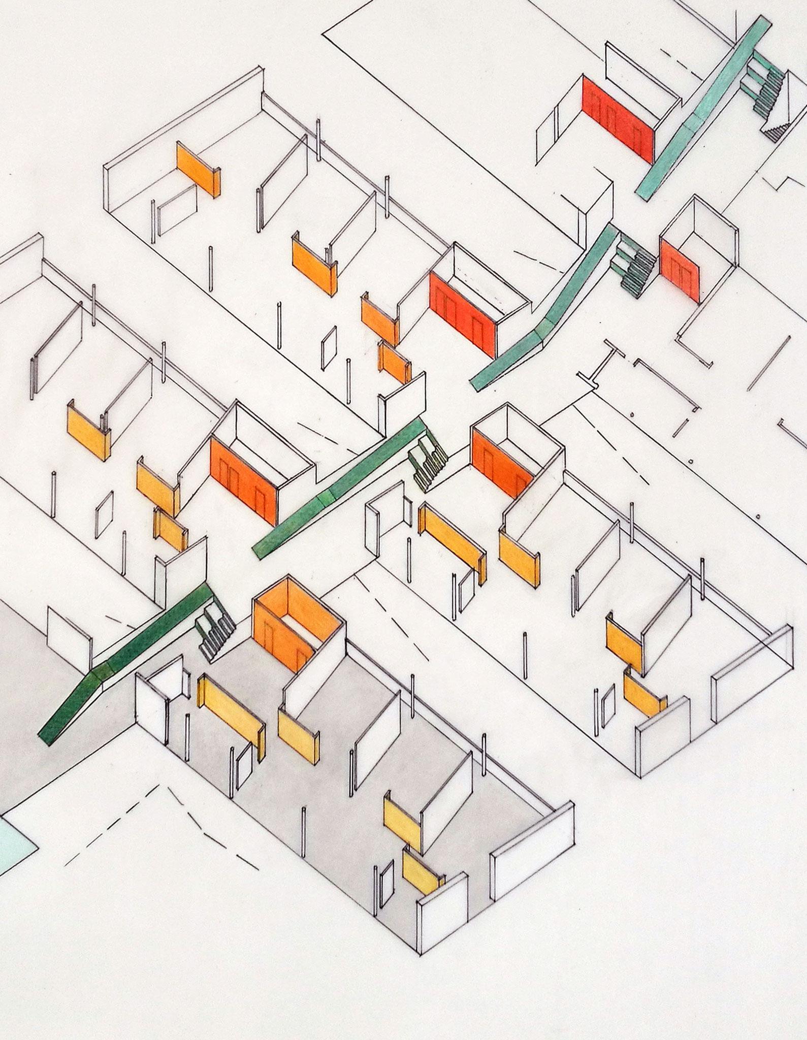 Cluster und Dorfstrasse, Farben von Wänden und Böden, Entwurf, Axonometrie