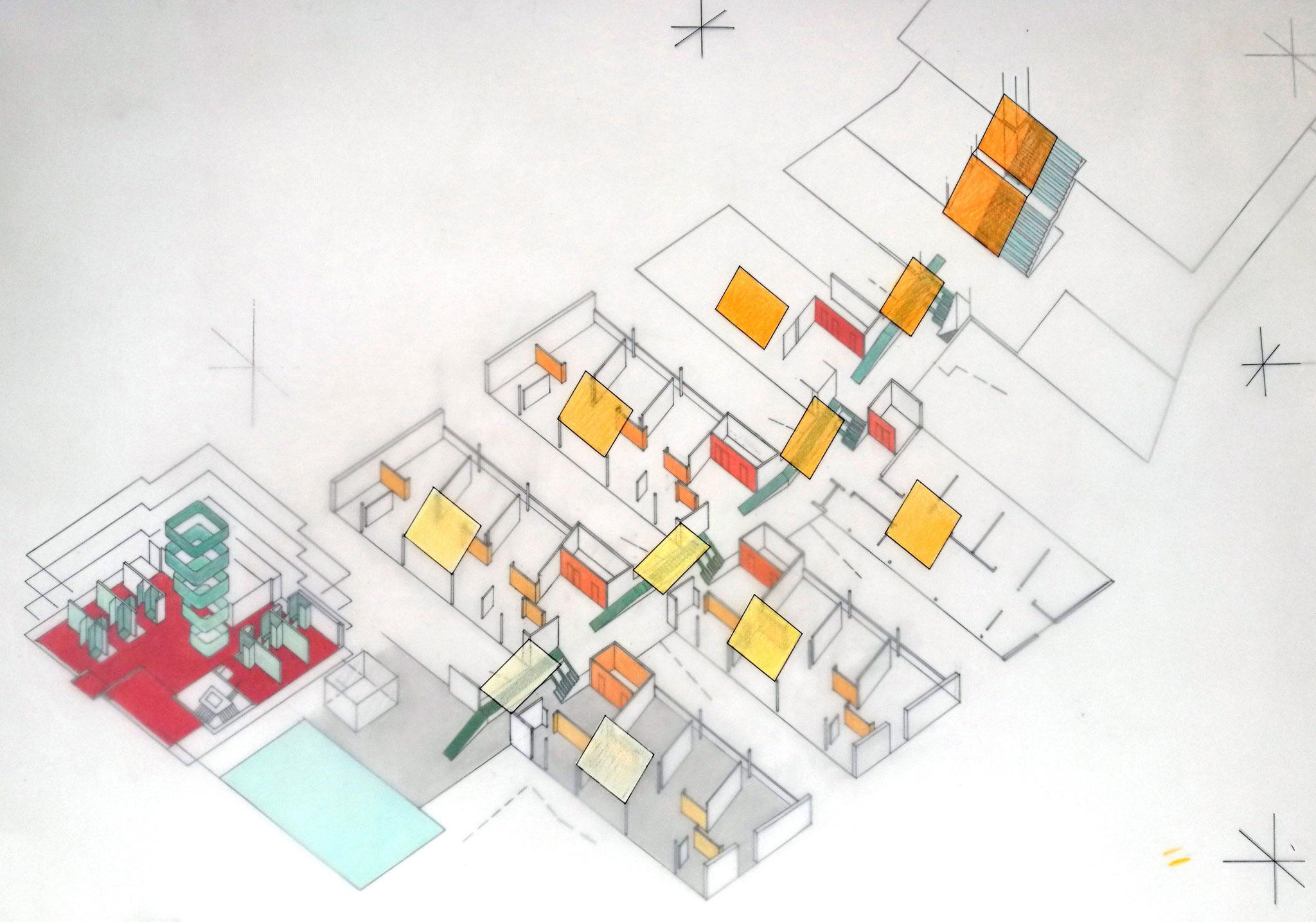 Cluster und Ski- Trainingszentrum, Wand- und Bodenfarben; Entwurf, Axonometrie