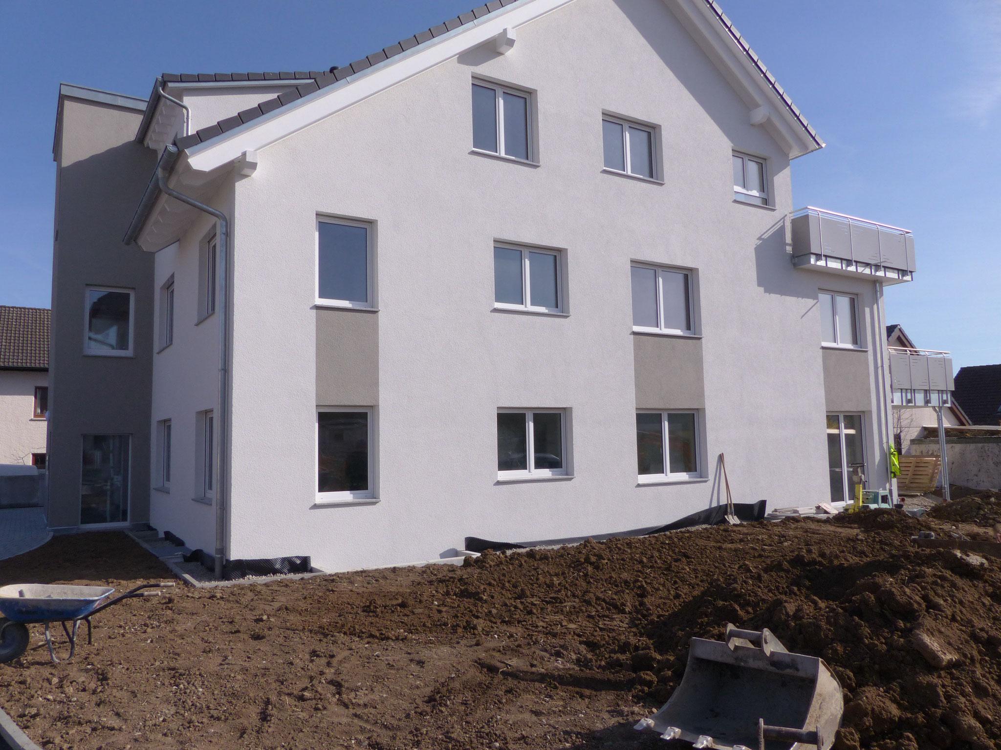 Anstrich Fassade inkl. der Holzteile/des Dachgesims und Fassadengestaltung durch Farbakzente