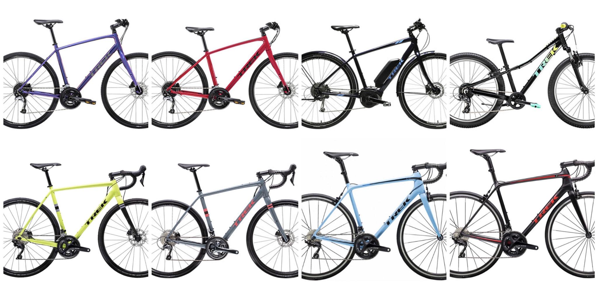 シクリズムアワジにはたくさんの種類のスポーツサイクルがあります!!ロードバイク、クロスバイク、E-BIKE(電動アシスト)、マウンテンバイクの中から乗りたいものを選んでね。