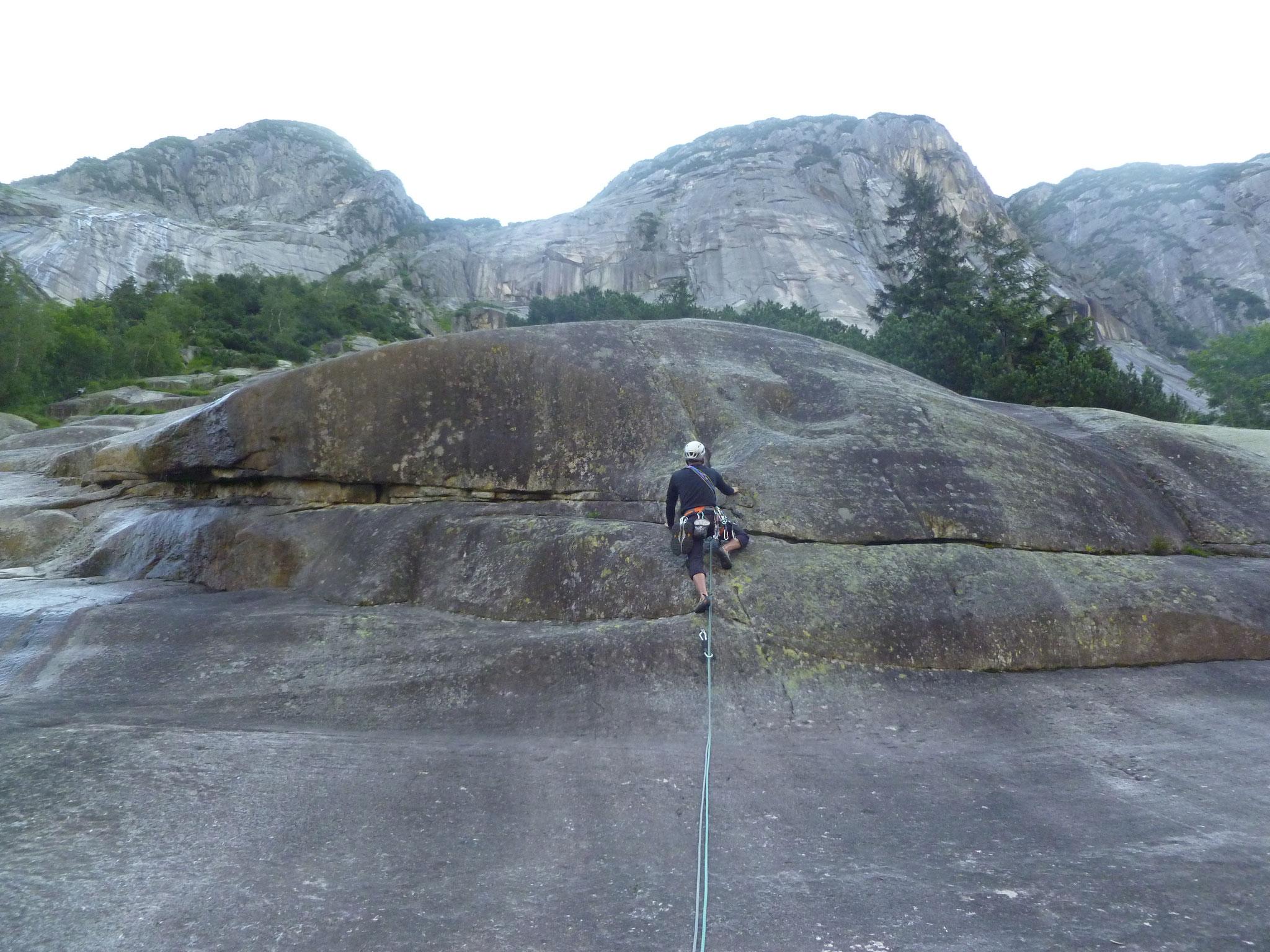 Die kurze Kletterpassage in der zweiten Länge