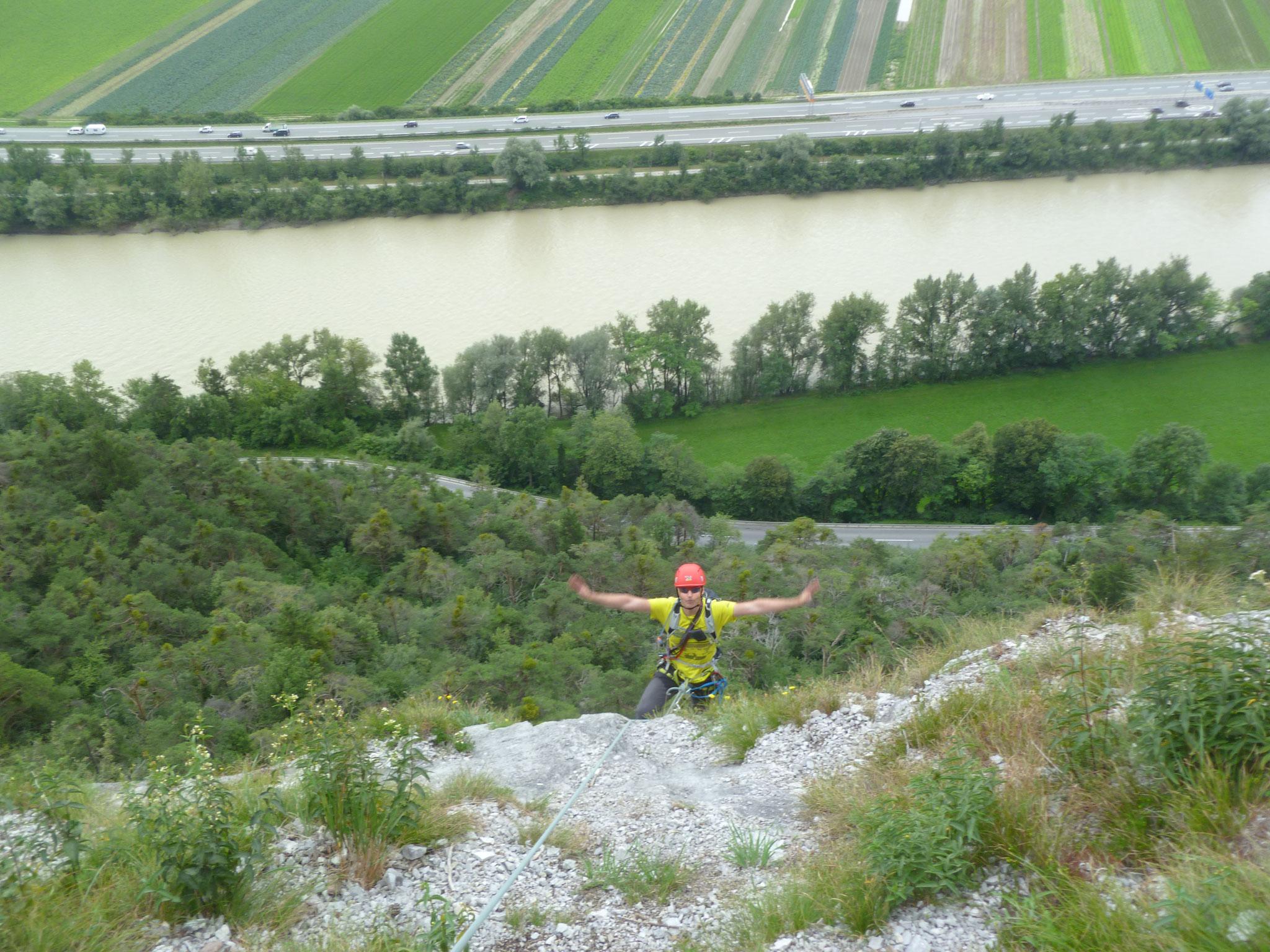 Ich kann fliegen! Peter euphorisch kurz vor dem 2. Stand