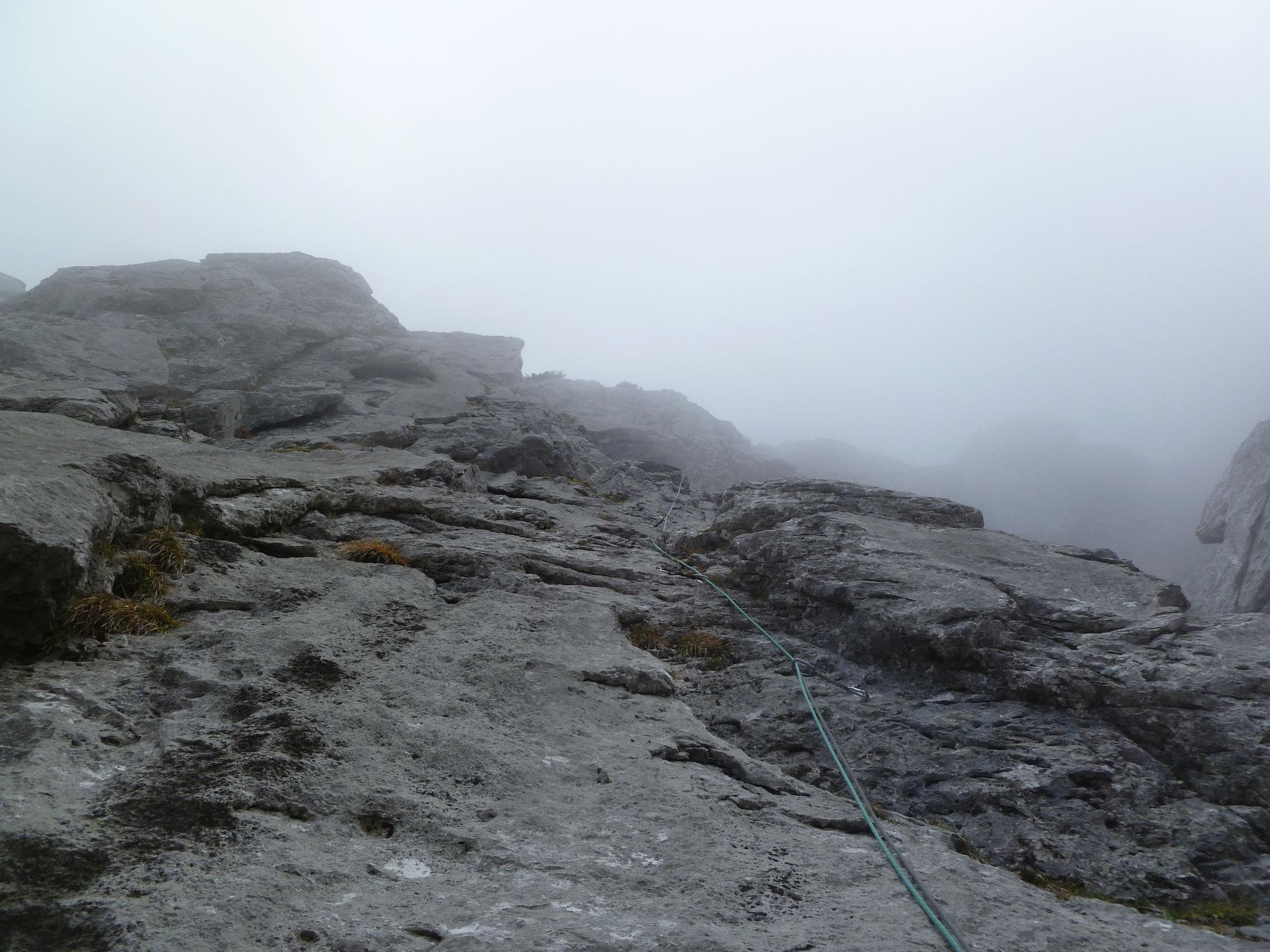 Die 5- Länge, noch etwas Nebel aber immerhin schon trocken