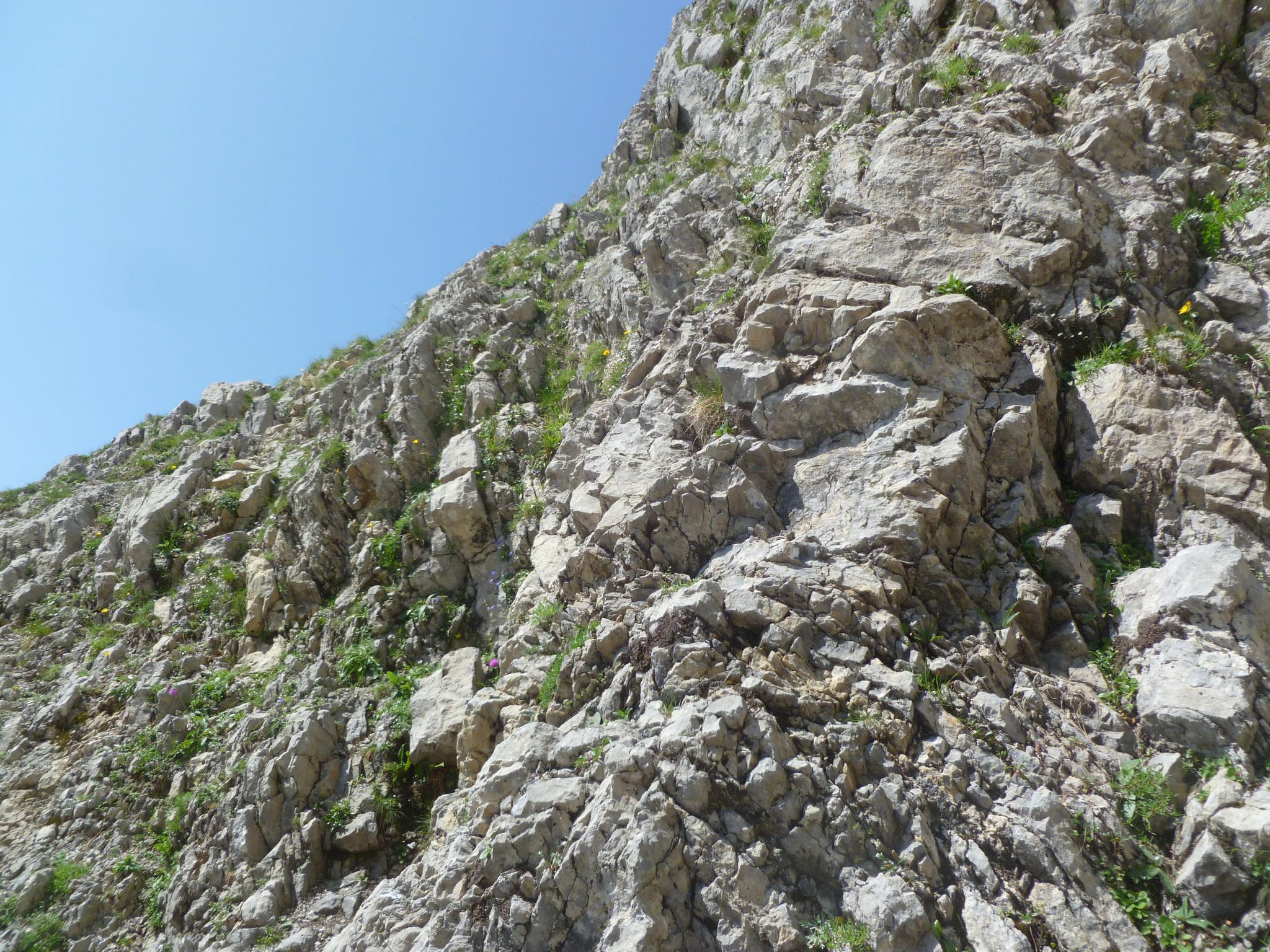 Einstieg in die erste Länge - kleine Vorschau auf die Felsqualität...