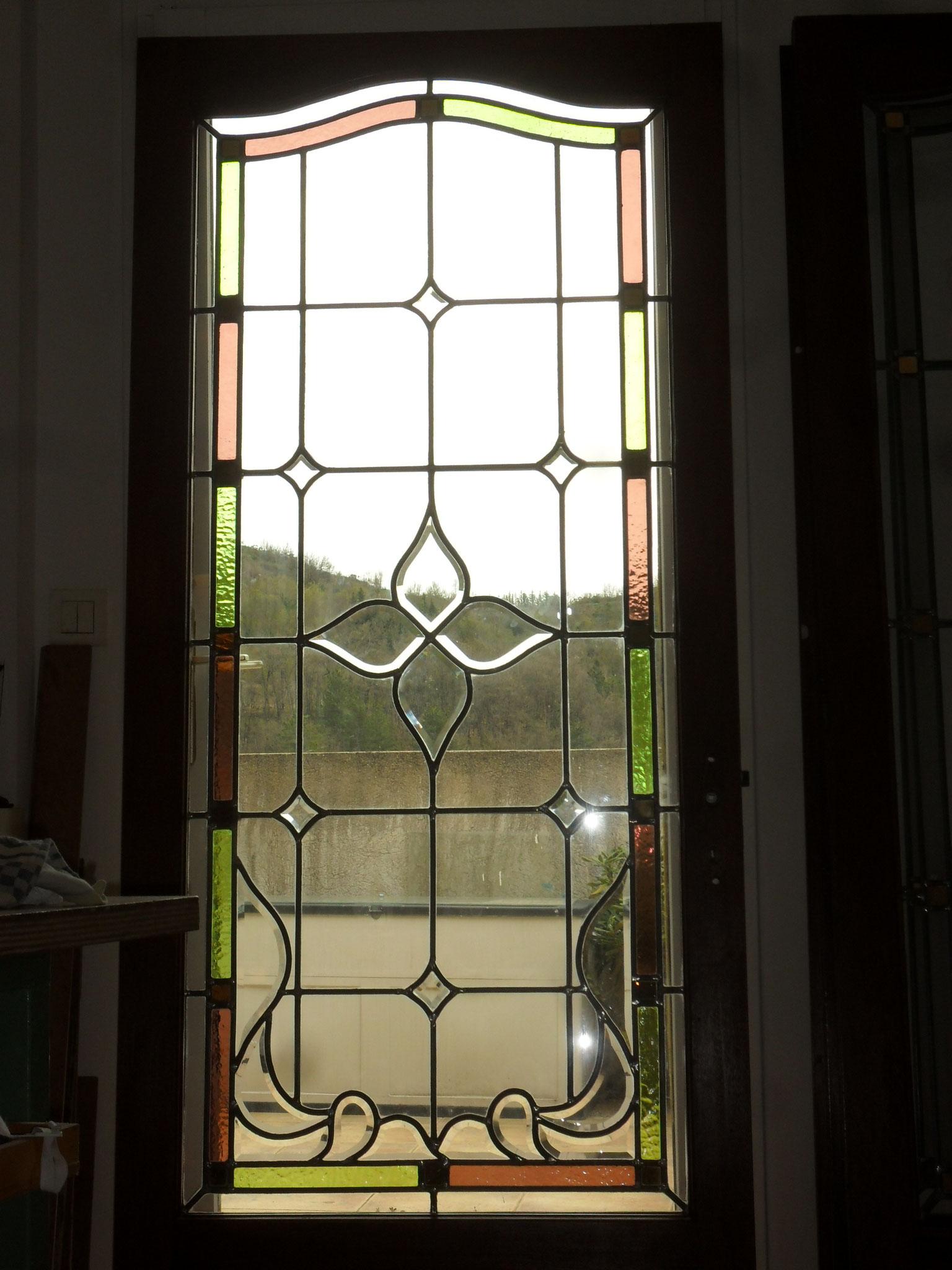 vitrail verre biseauté losange-porte