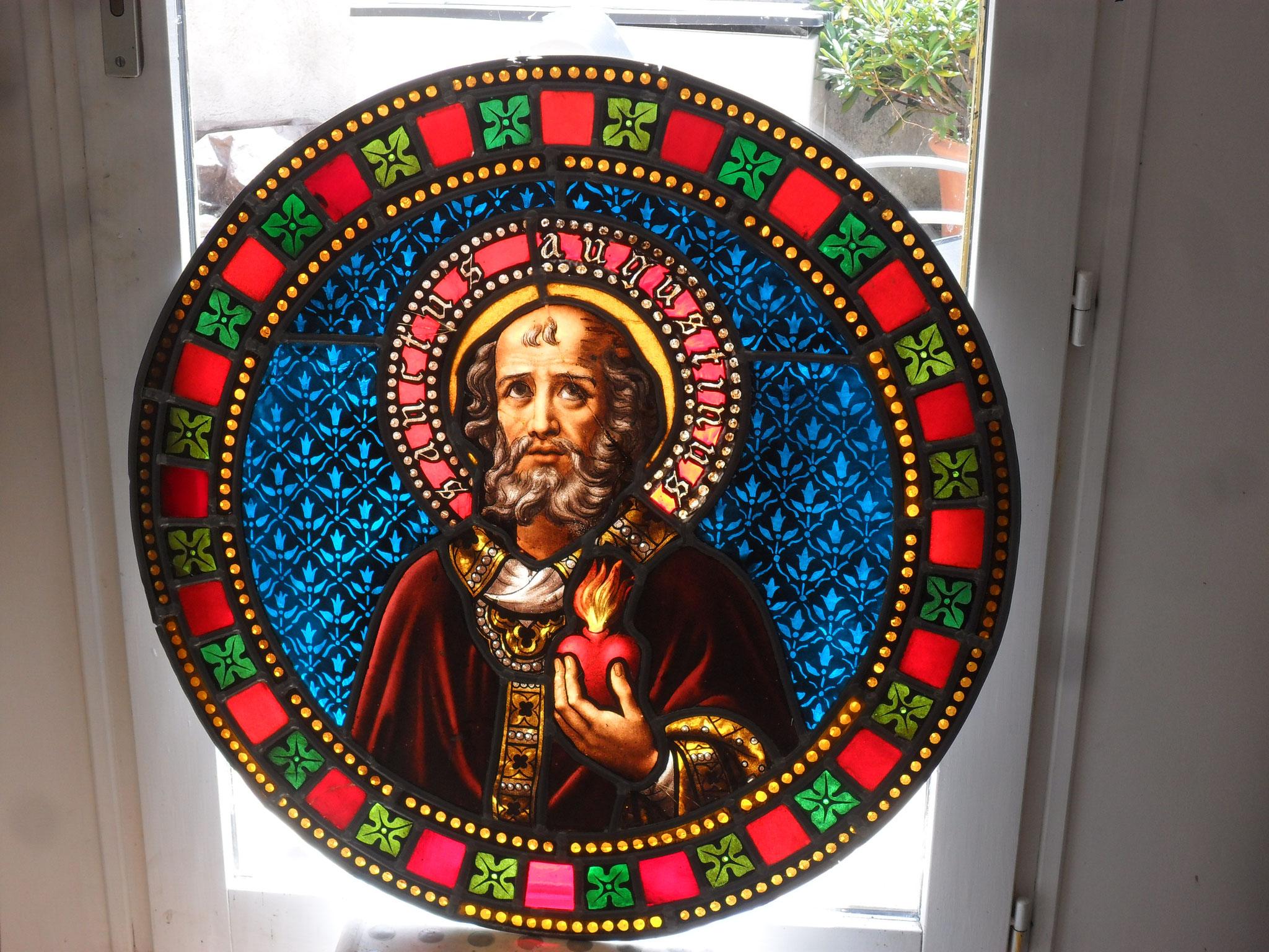 Vitrail de St Augustin 34 Magalas- Restauré