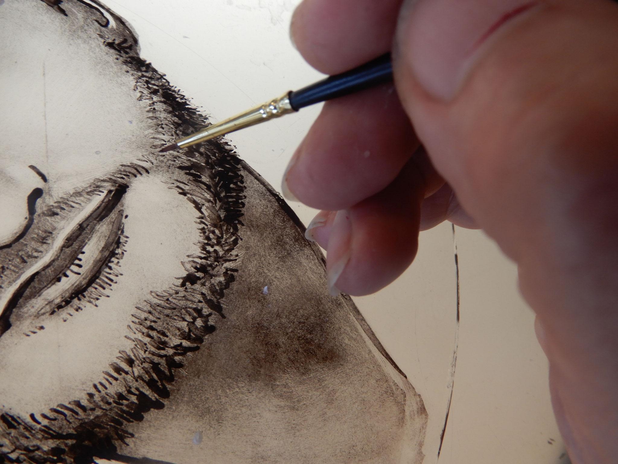 Portrait à la grisaille  Vitrail-languedoc