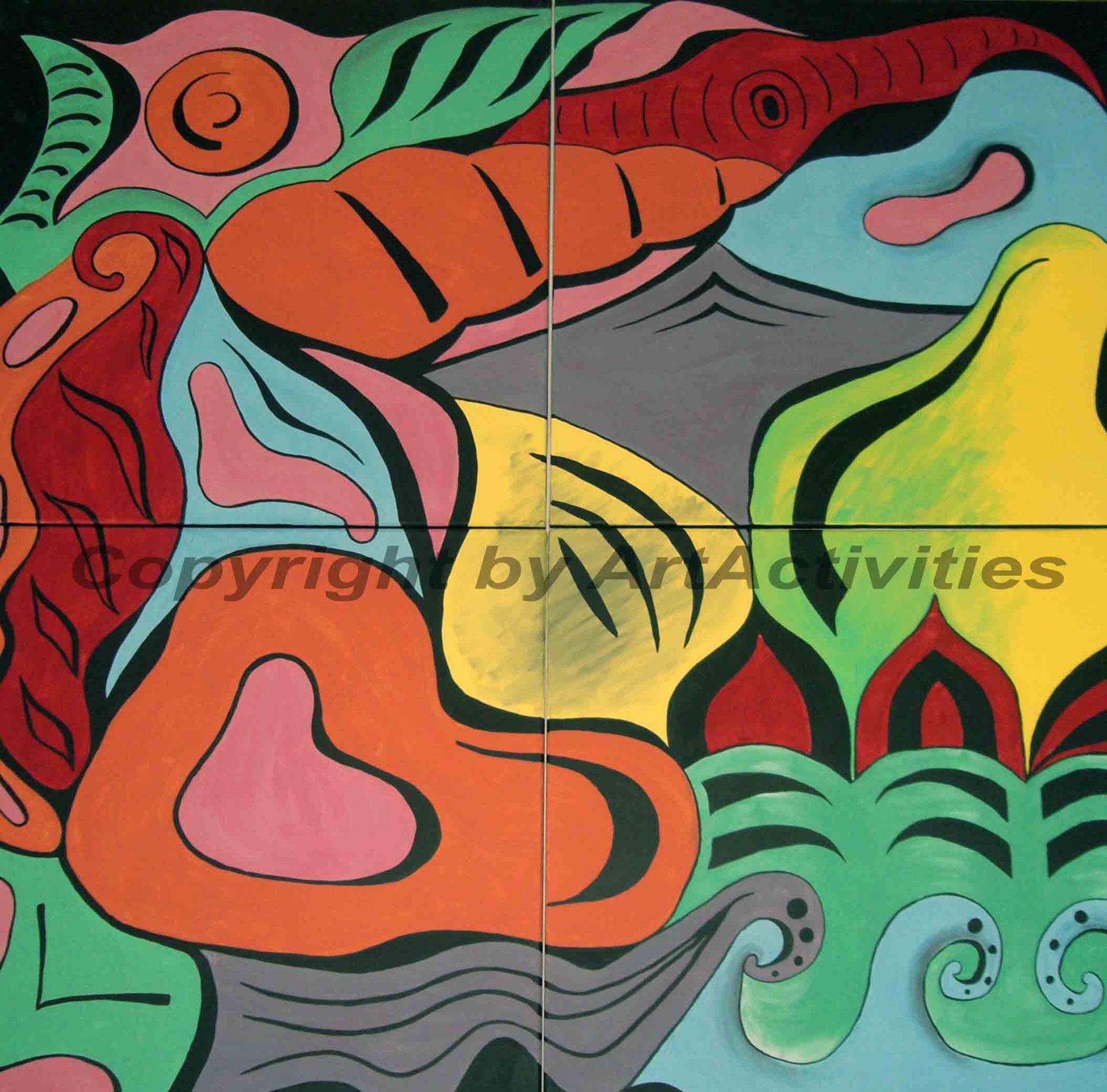 Colors variety, 140x140cm, Acryl on canvas