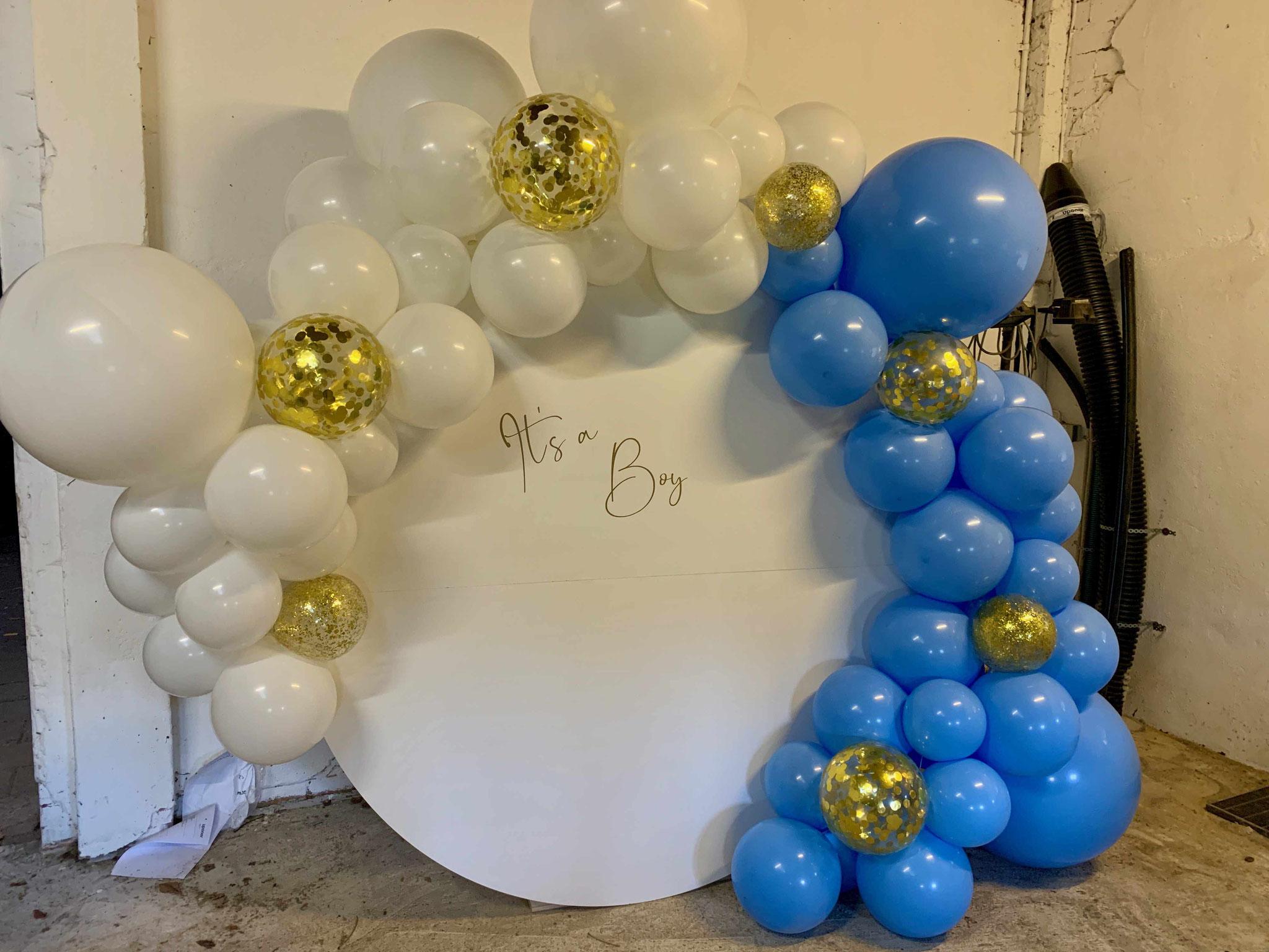 Perfekt für Babyparty's - unsere Scheibe dekoriert mit Luftballons