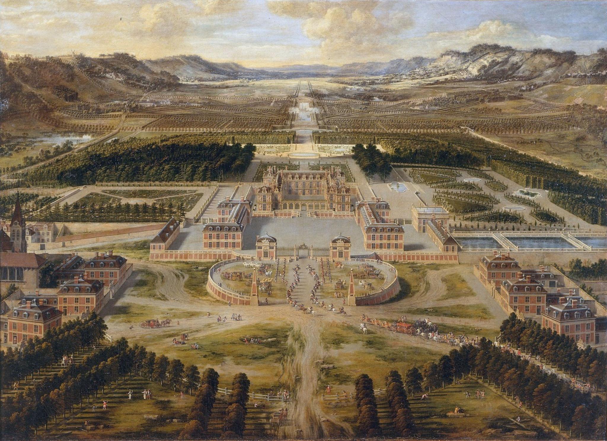 """Pierre PATEL, """"Vue du château et des jardins de Versailles"""" (1668), huile sur toile"""