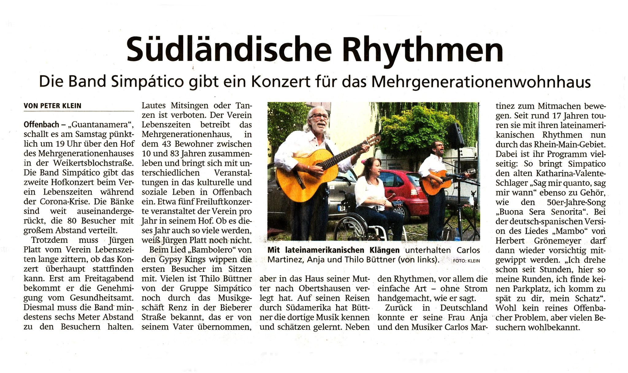 Offenbach Post, 21. Juli 2020