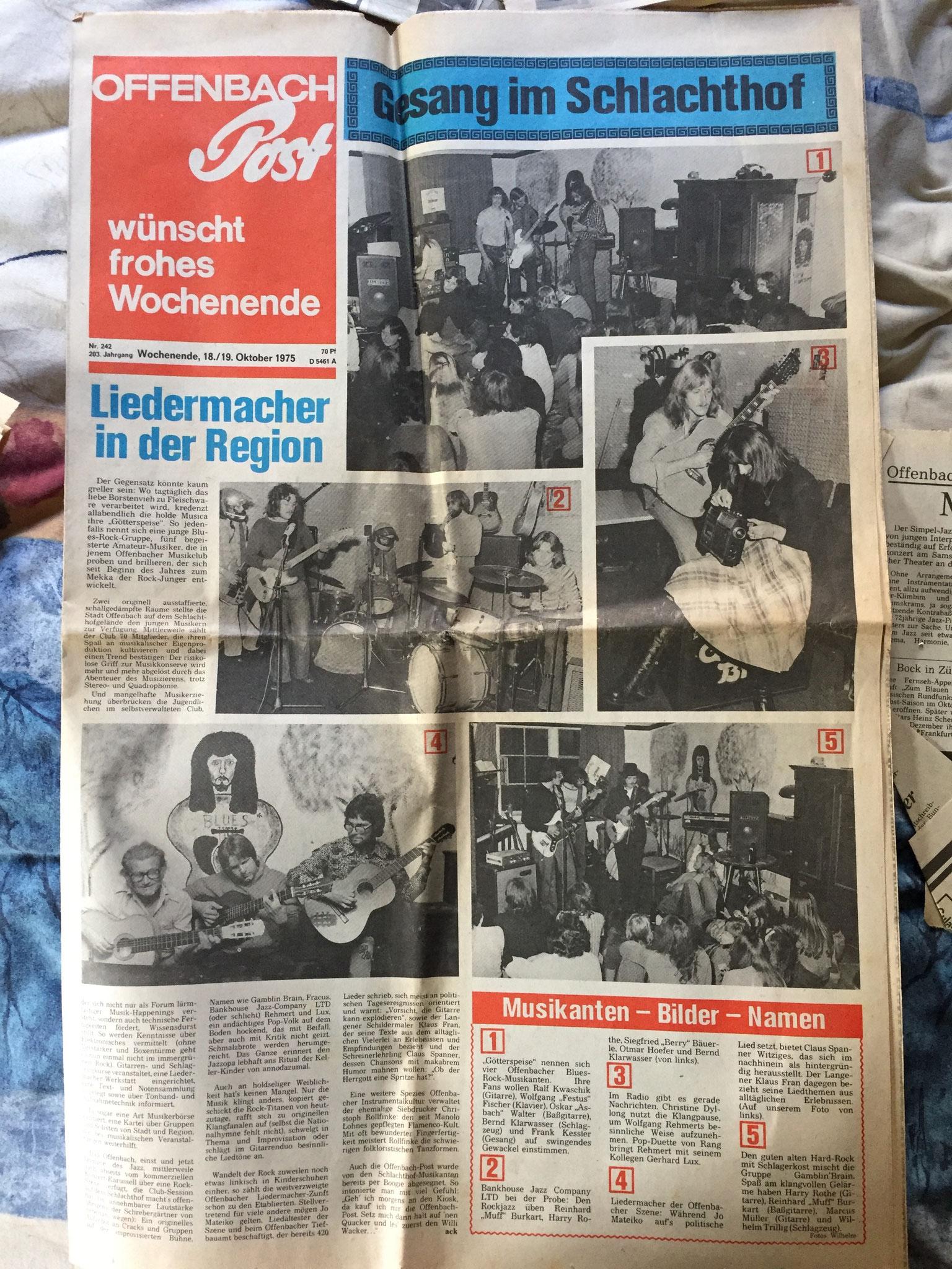 Artikel Offenbach Post, 18./19. Oktober 1975