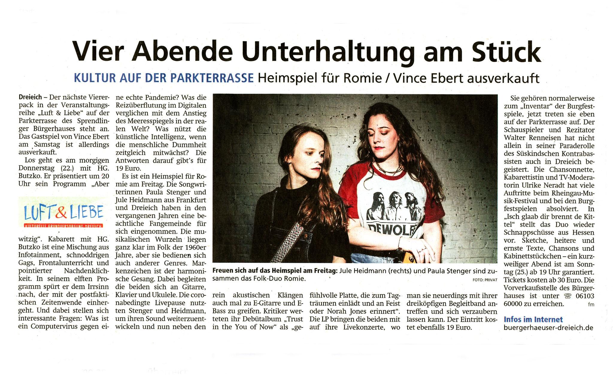 Artikel Offenbach Post, 21. Juli 2021