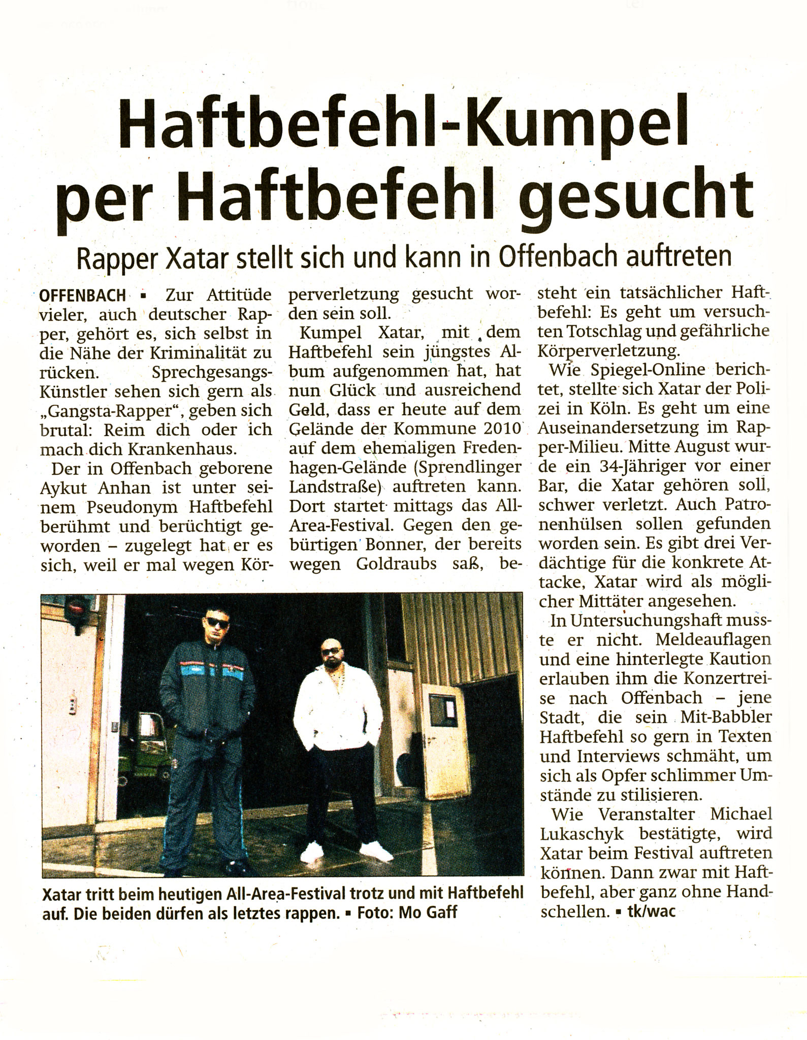 Offenbach Post, 27. August 2016