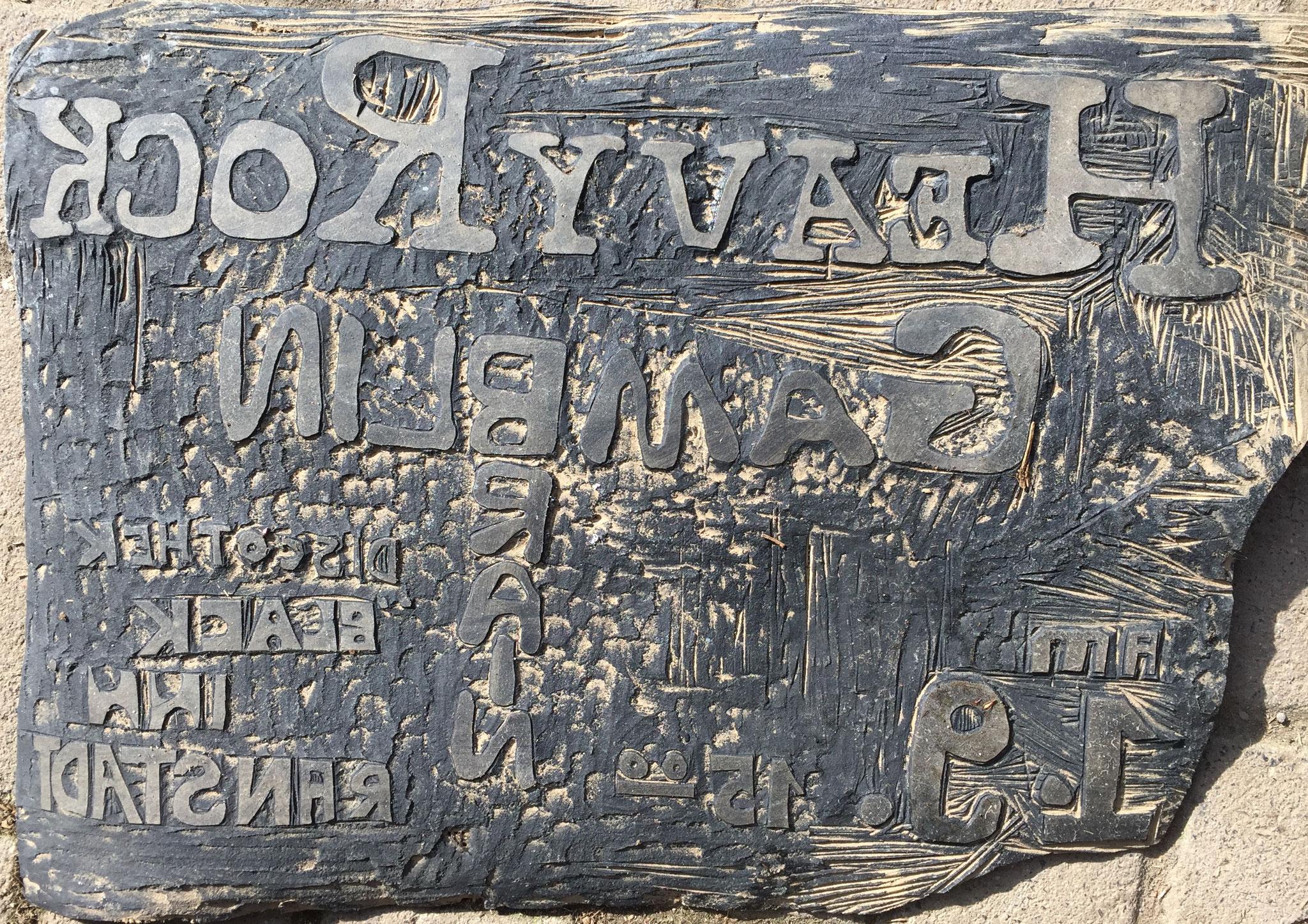 Druckvorlage für ein Plakat - ins Linol geschnitzt von Otmar Hoefel