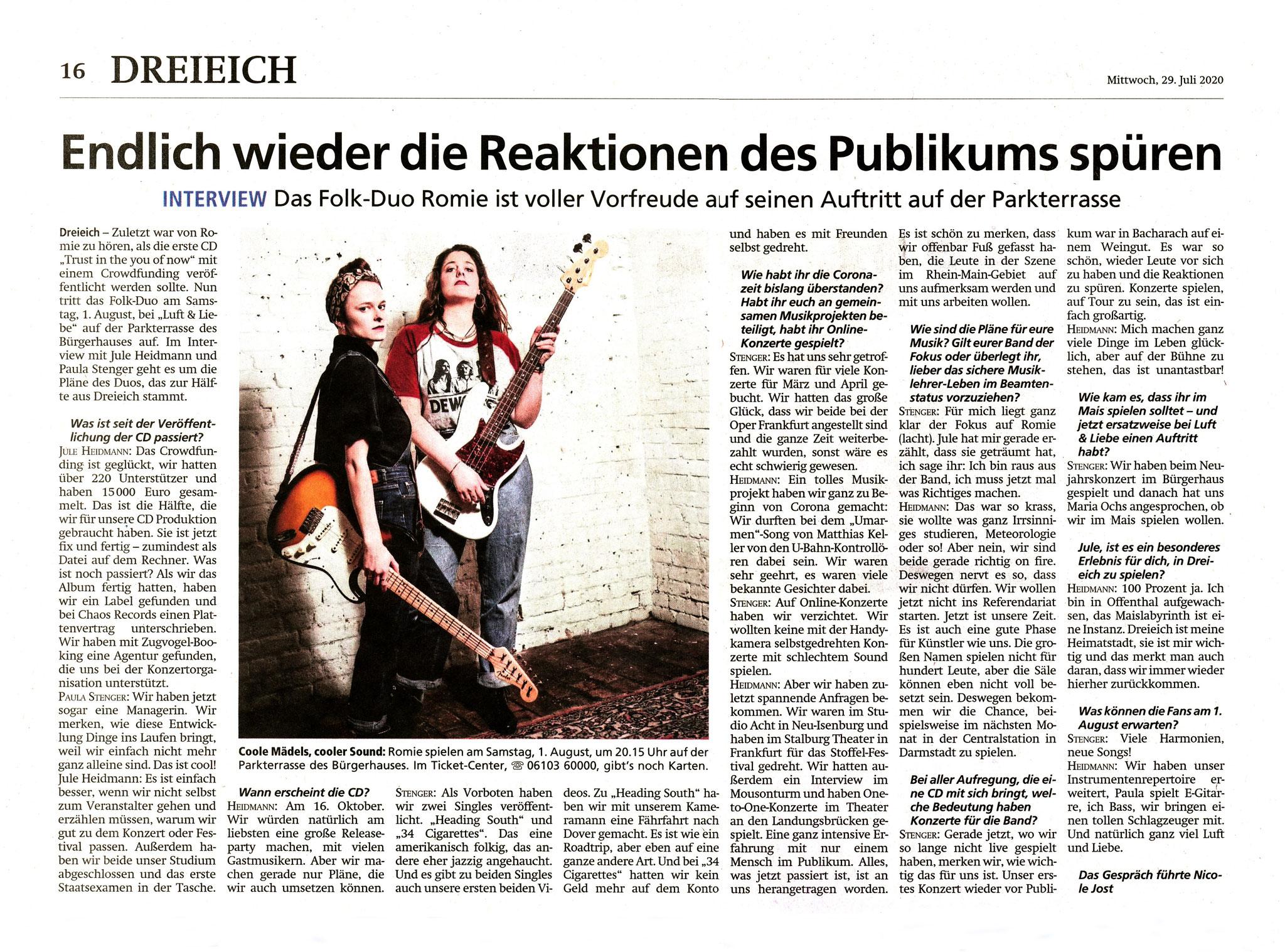 Artikel Offenbach Post, 29. Juli 2020