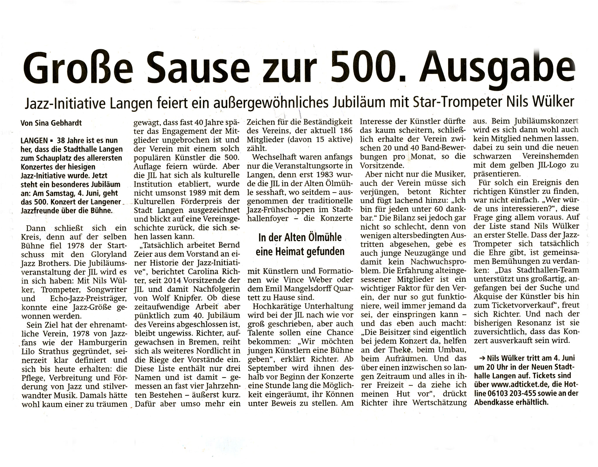 Offenbach Post, 26. Mai 2016