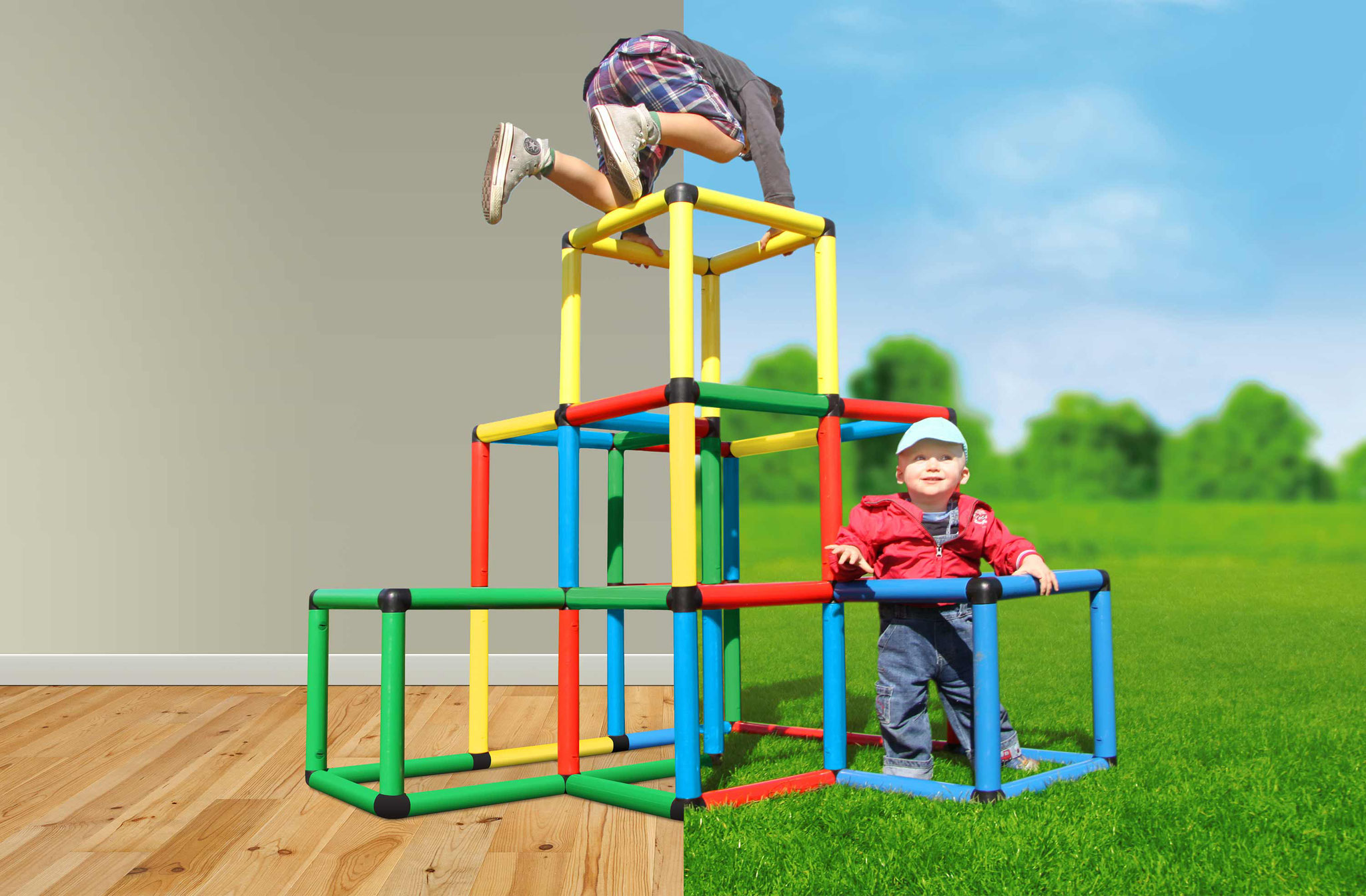 Quadro Klettergerüst Anleitung : Kletterpyramide quadro der grossbaukasten