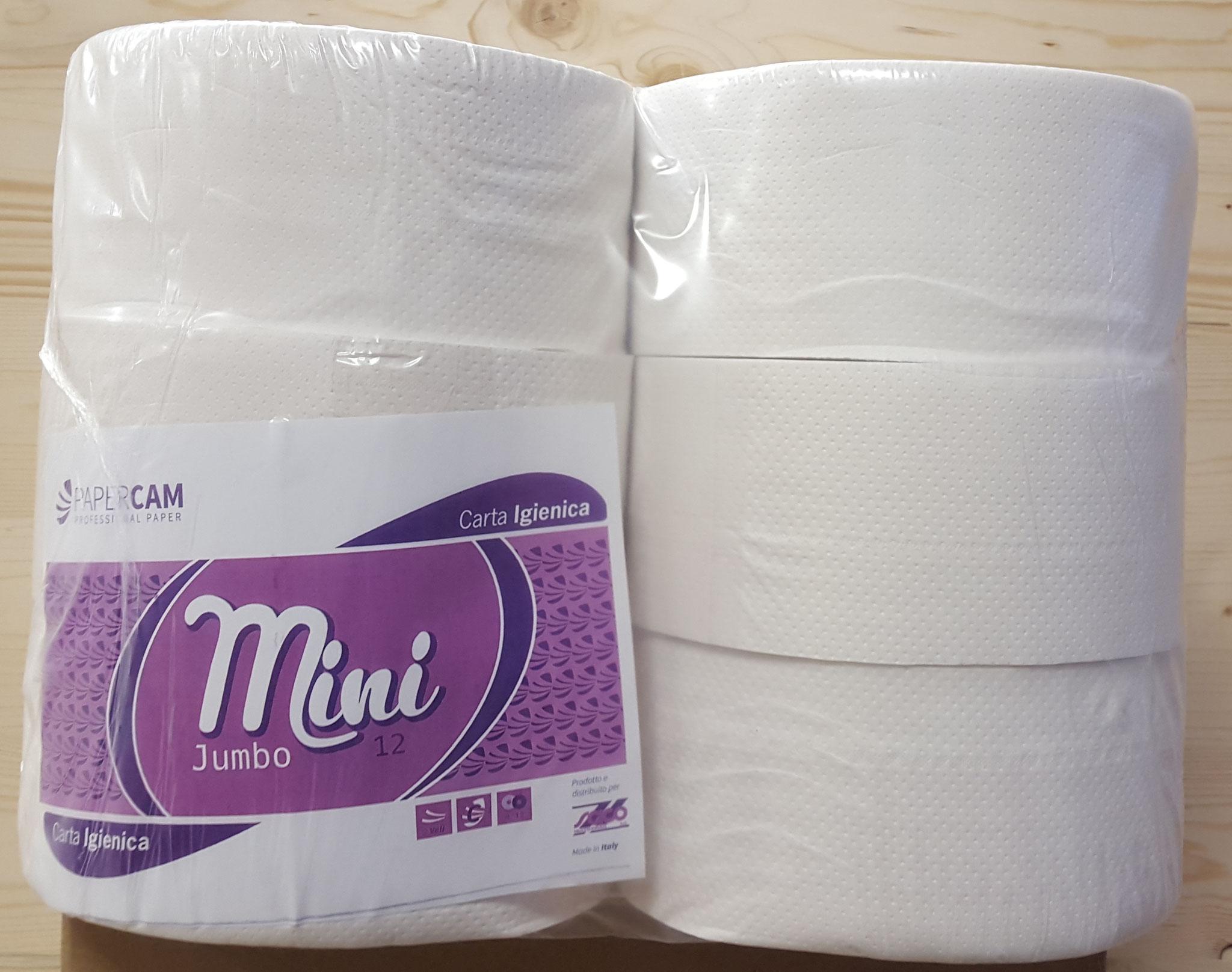 MINI JUMBO - Carta igienica mini jumbo, 2 veli, bianca, pura cellulosa 6 rotoli