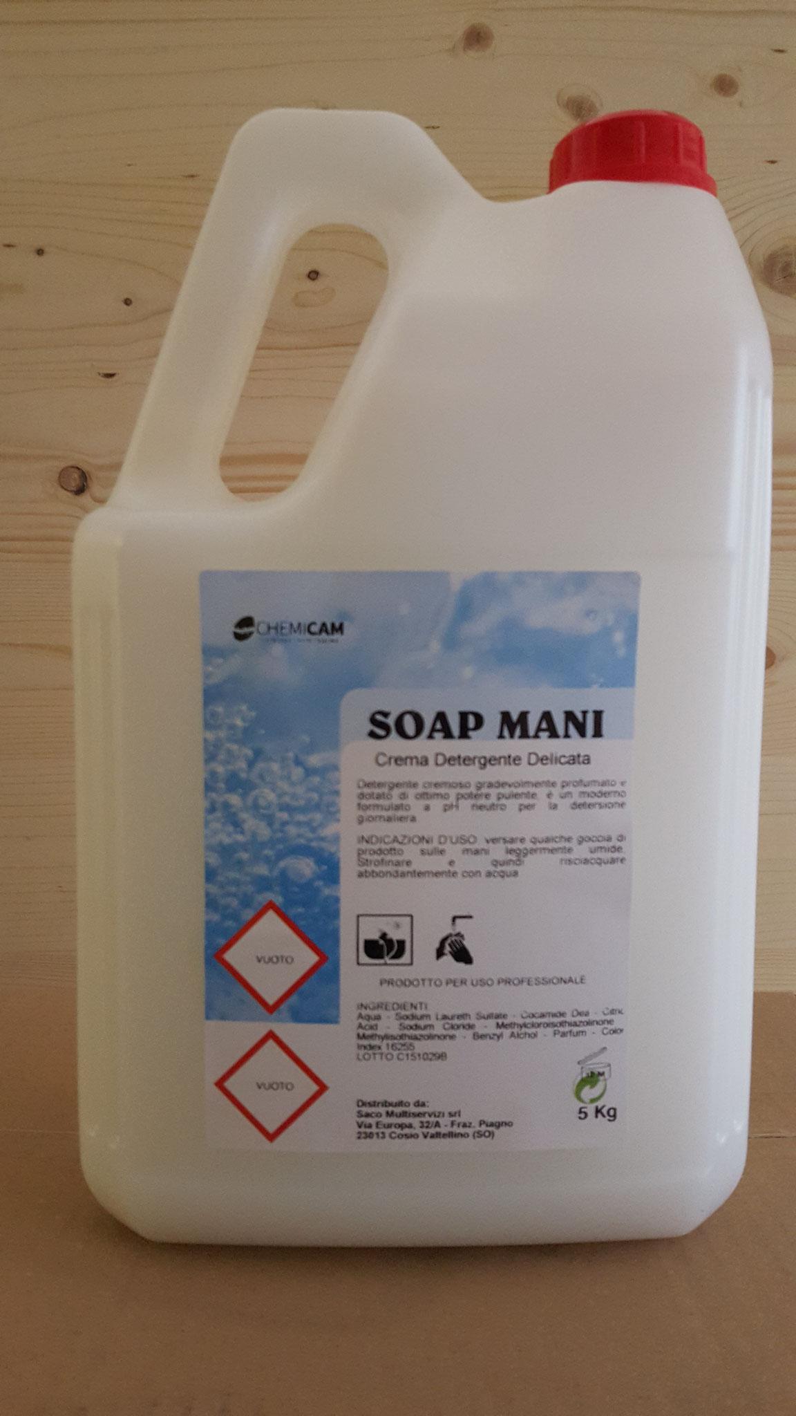 SOAP MANI - Detergente cremoso alla profumazione di rosa, PH neutro, con glicerina